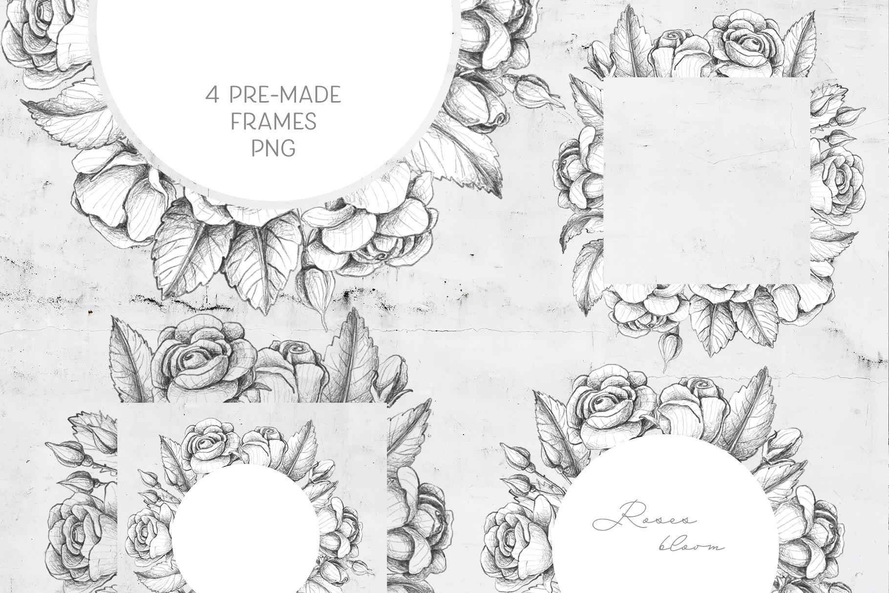 Sketched roses, patterns, frames example image 9