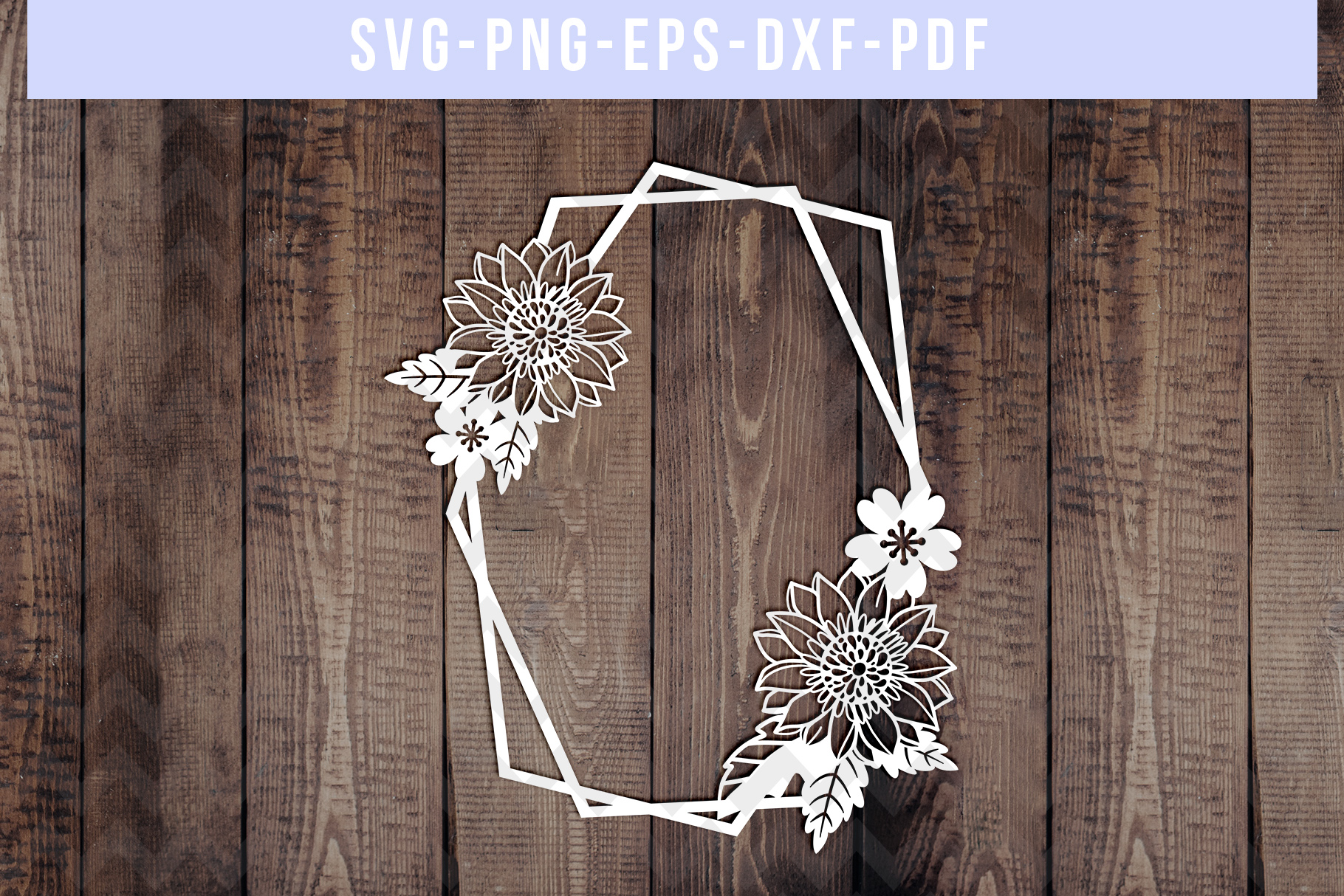 Bundle Of 9 Geometric Frame Papercut Templates, SVG, PDF DXF example image 2