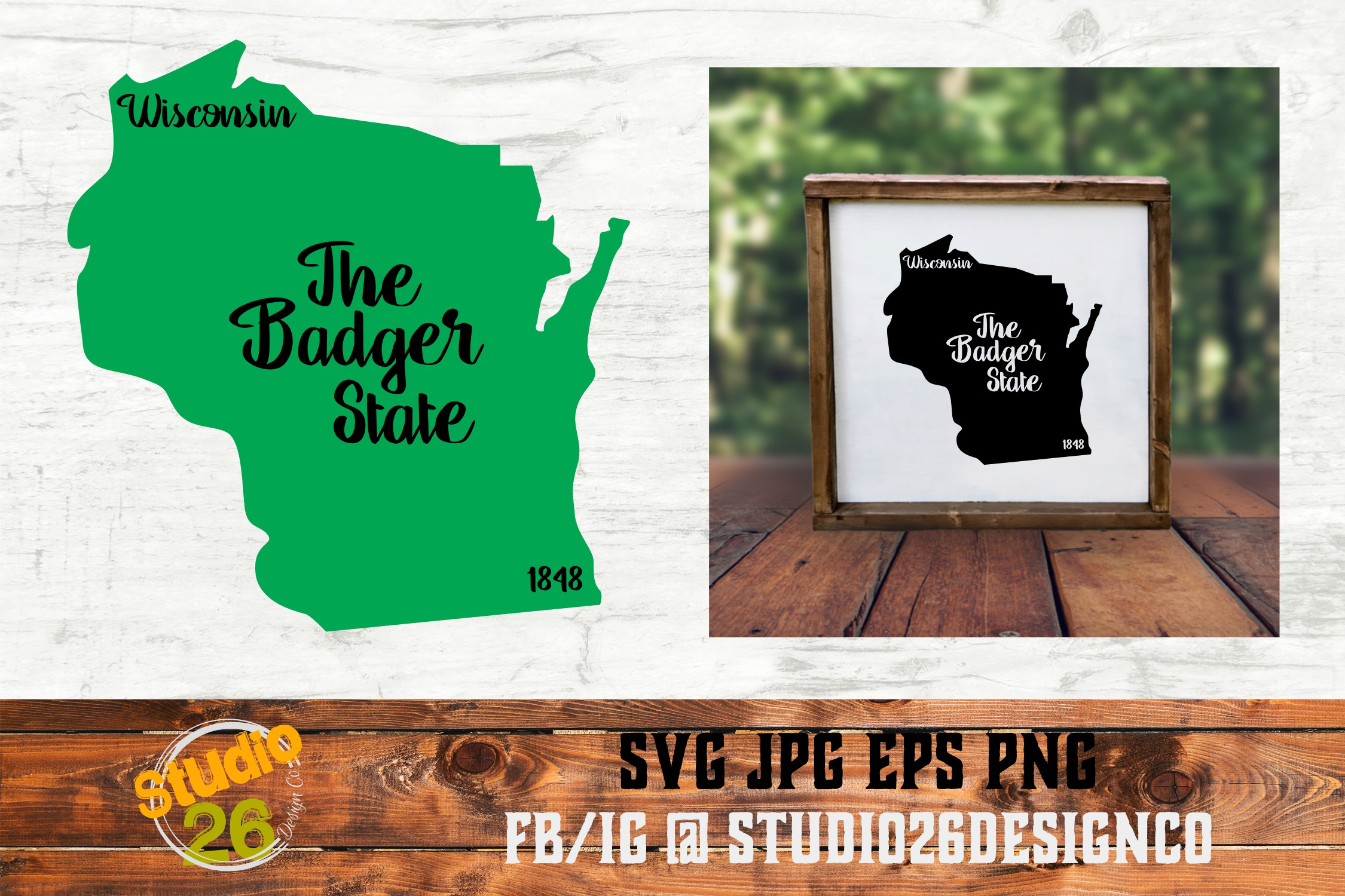 Wisconsin - State Nickname & EST Year - 2 Files - SVG PNG example image 1