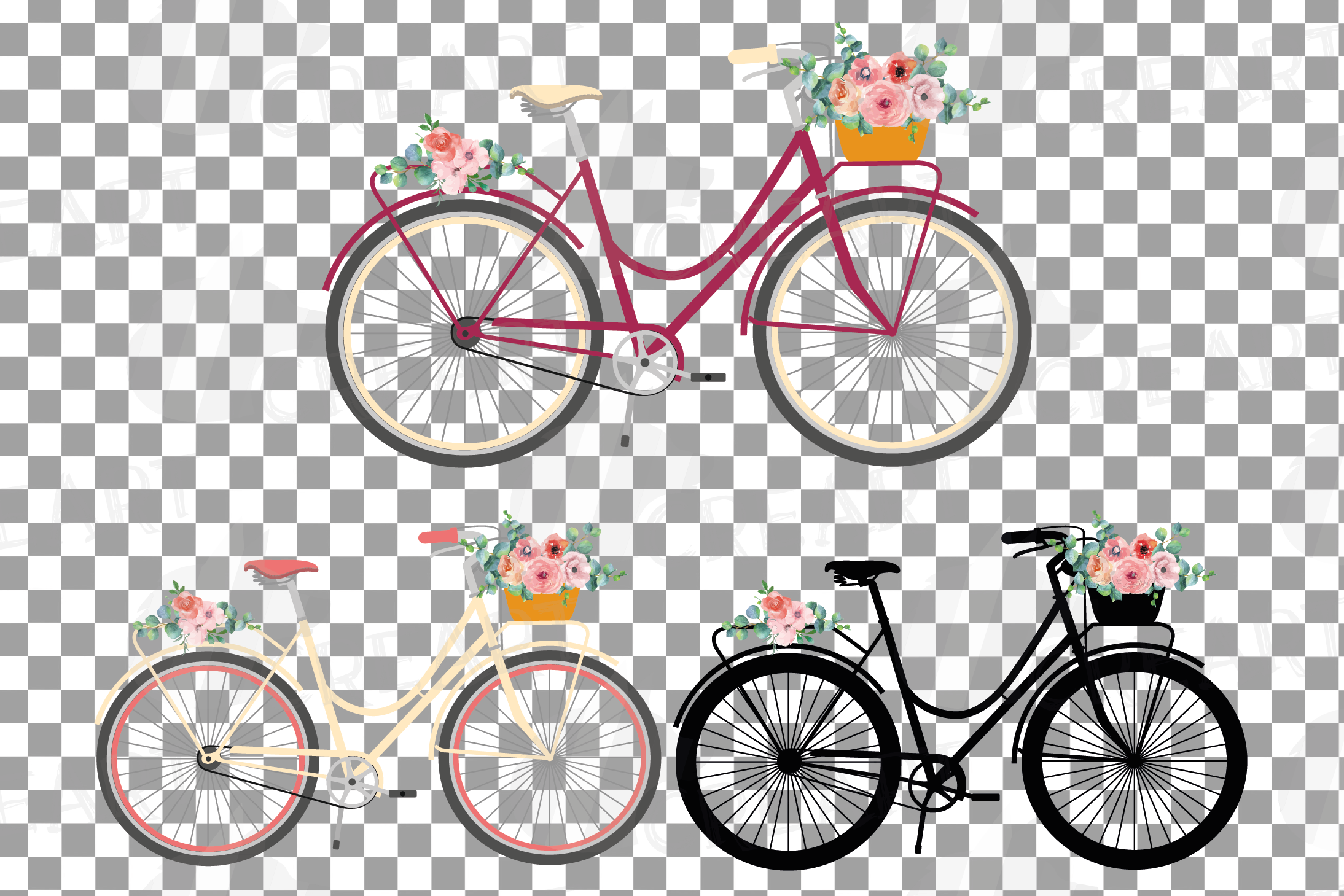 Floral bicycles clip art pack, blush floral and eucalyptus example image 8