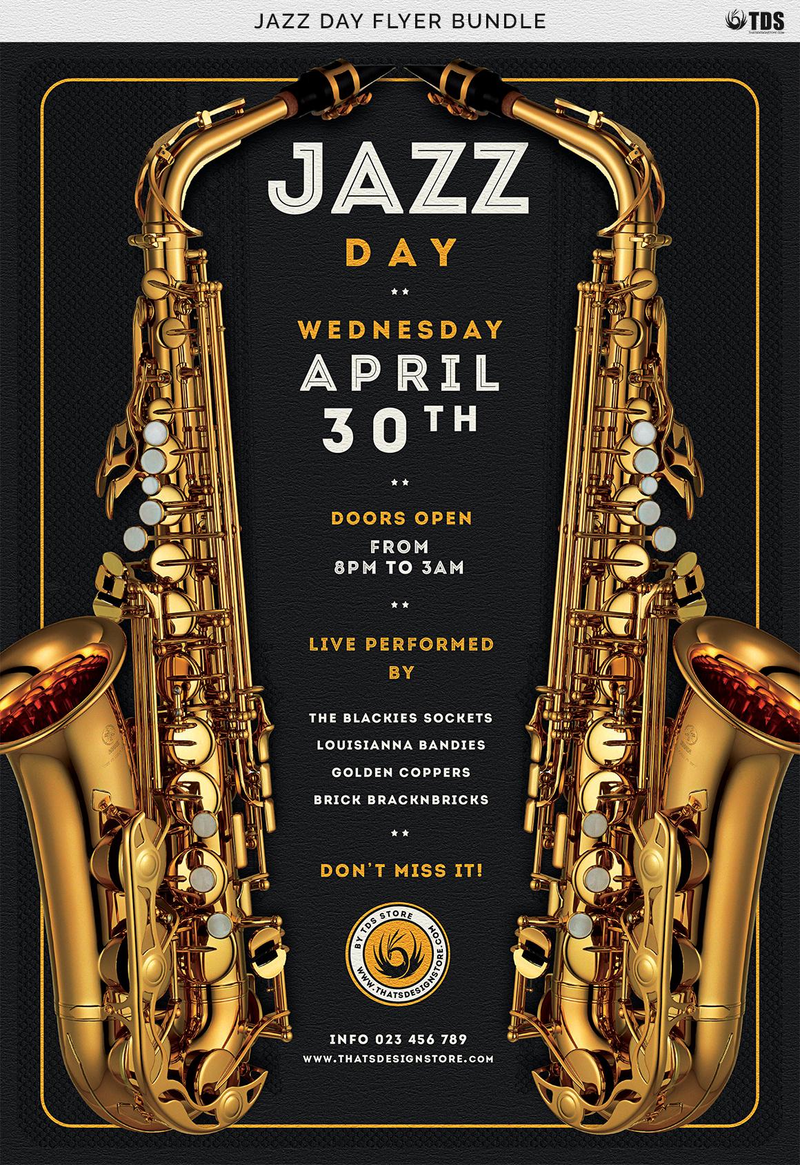 Jazz Day Flyer Bundle example image 12