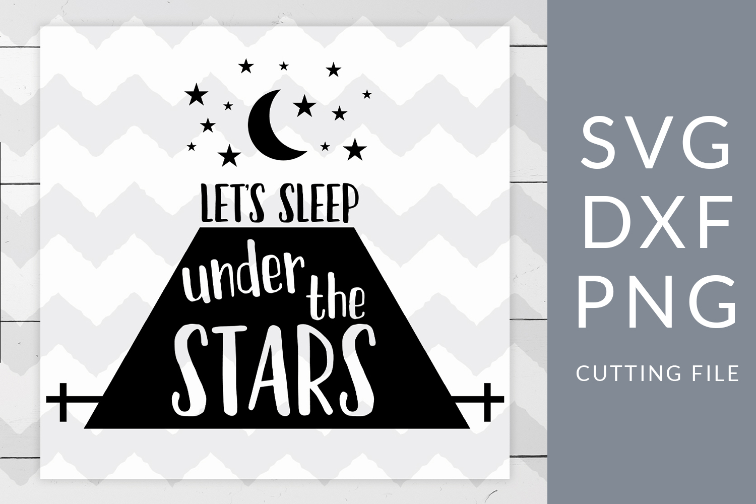 Let's Sleep Under the Stars Camping SVG, DXF, PNG, Cut File example image 1