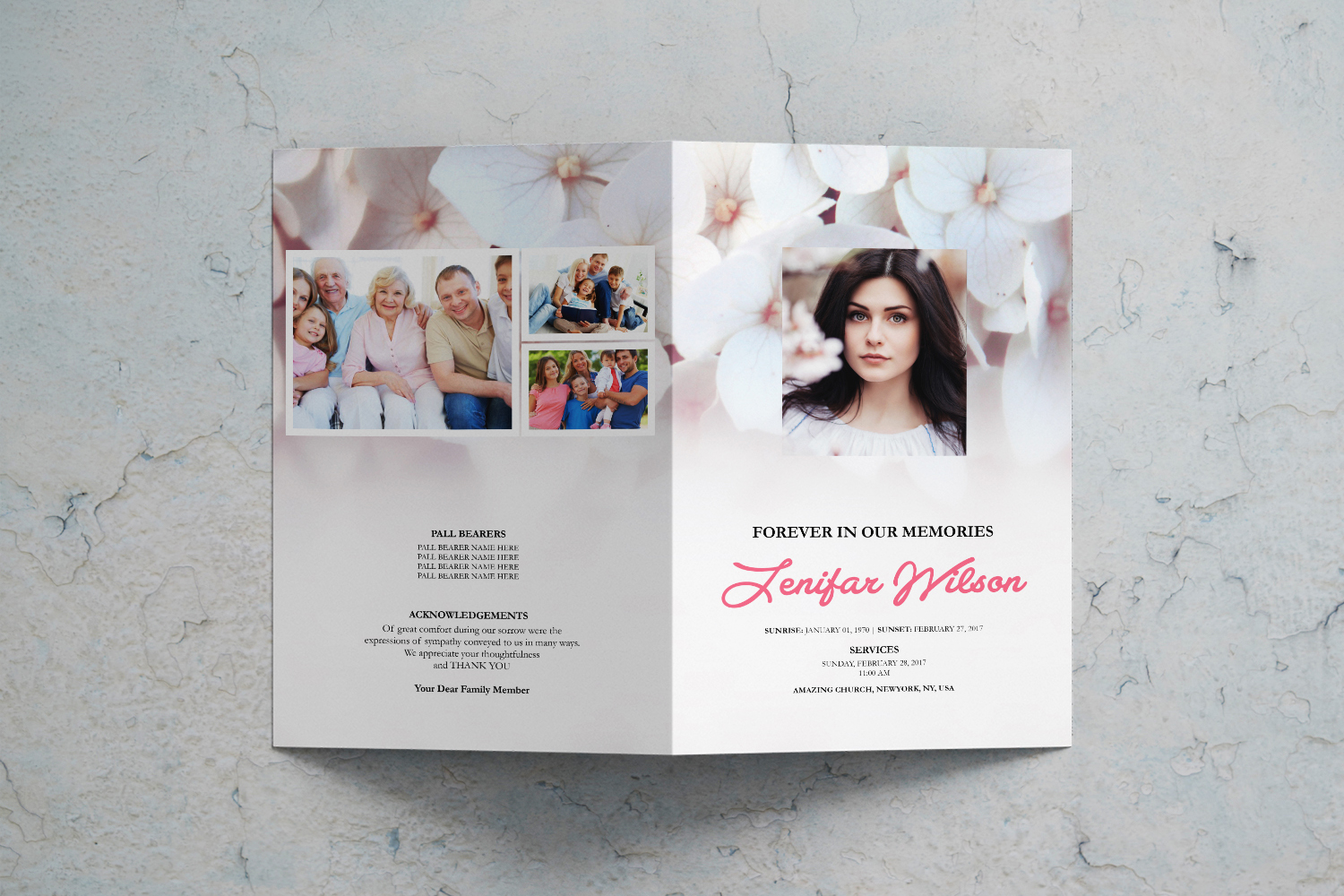 Soft Pink Printable Funeral Program Template | MS Word example image 2