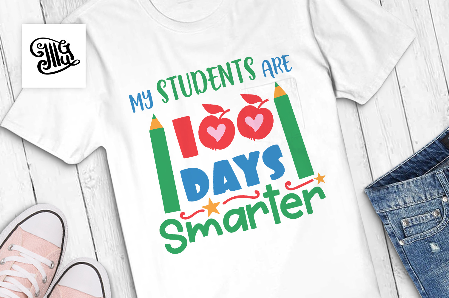 100 days of school for teacher svg example image 1