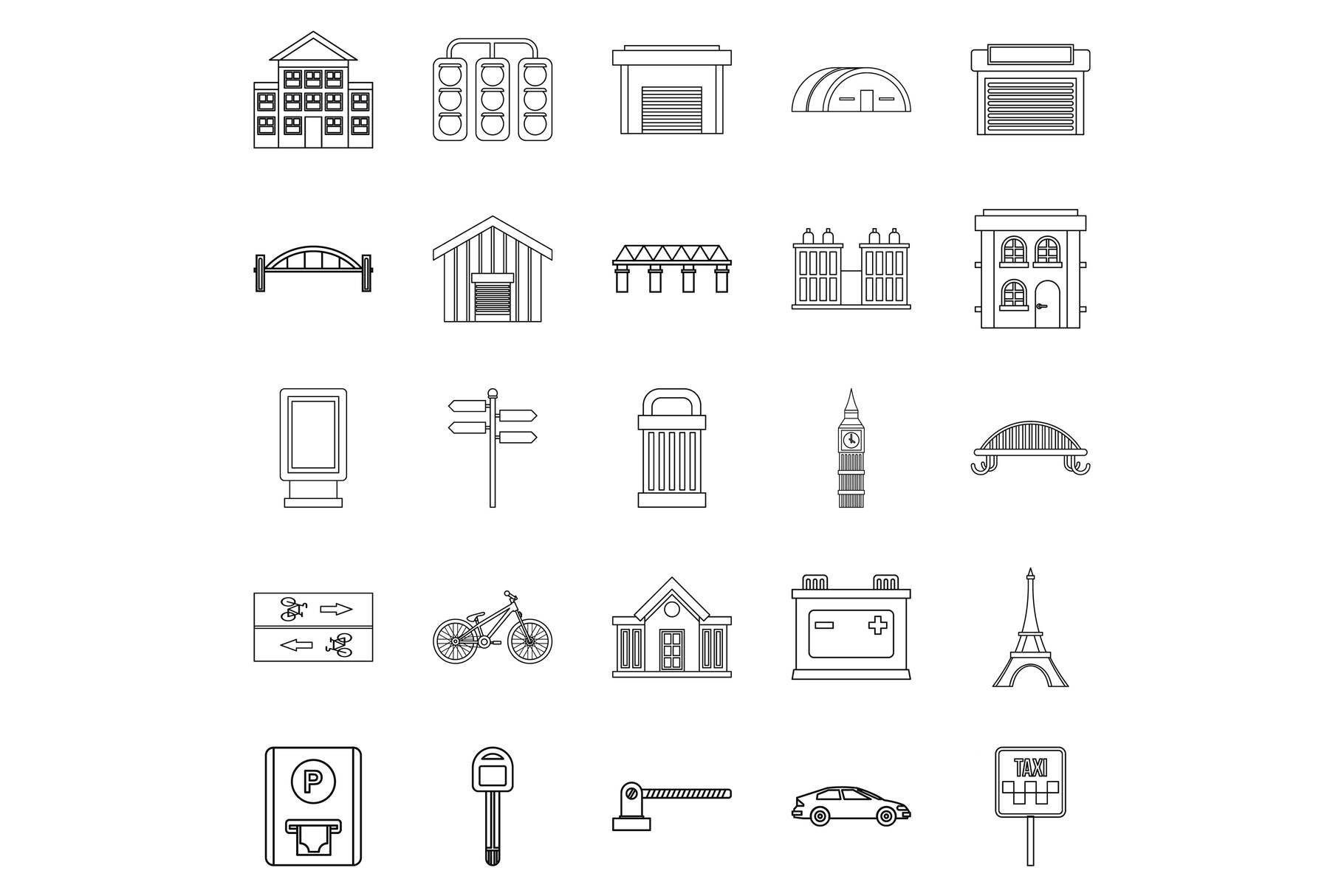 Road signs icons set, outline style example image 1