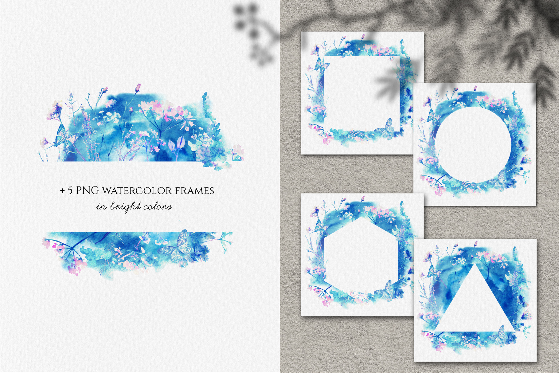 Watercolor floral design collection, herbal and ice example image 8