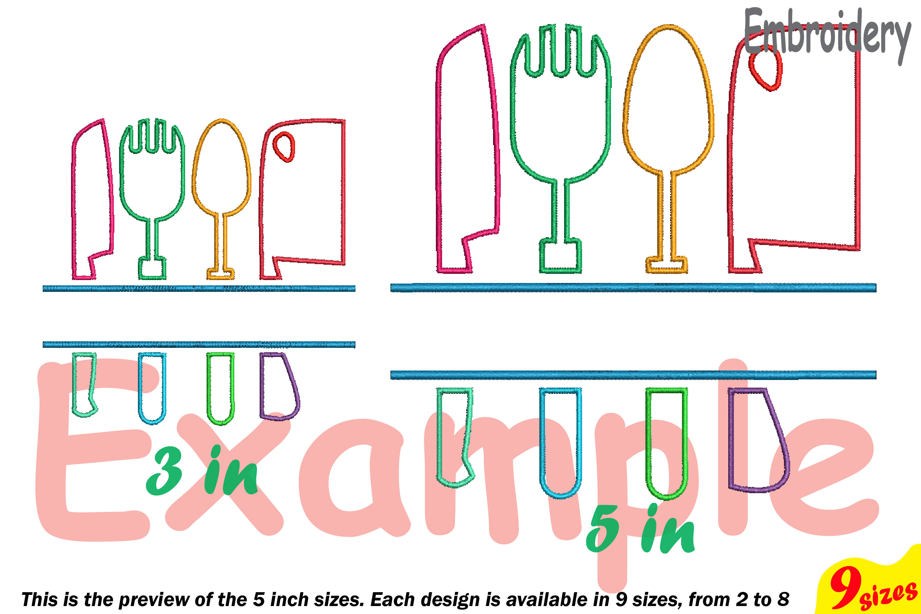 Split Kitchen Embroidery Design Machine Instant Download Commercial Use digital file icon symbol sign Cooking Chef Utensils knife 182b example image 3