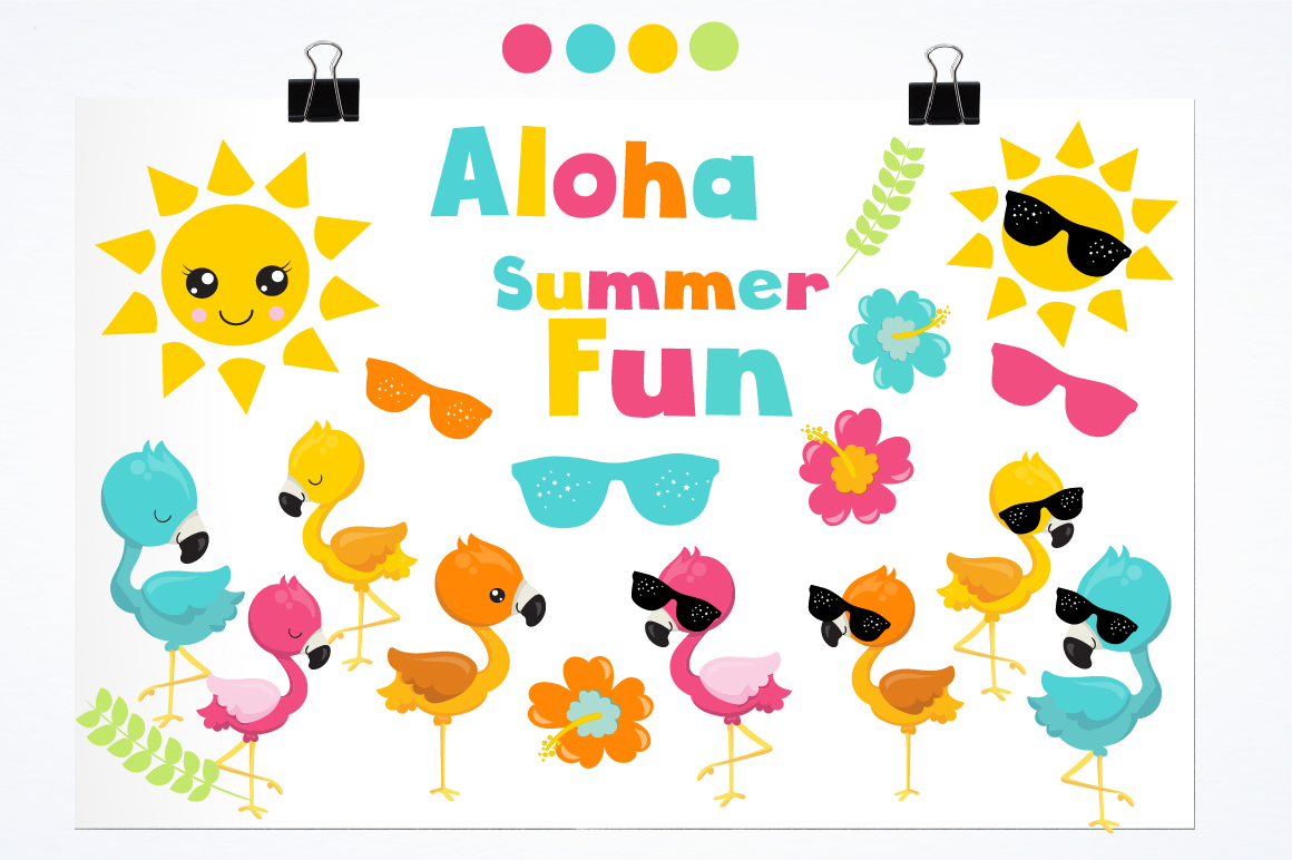Summer Flamingos graphics and illustrations example image 2