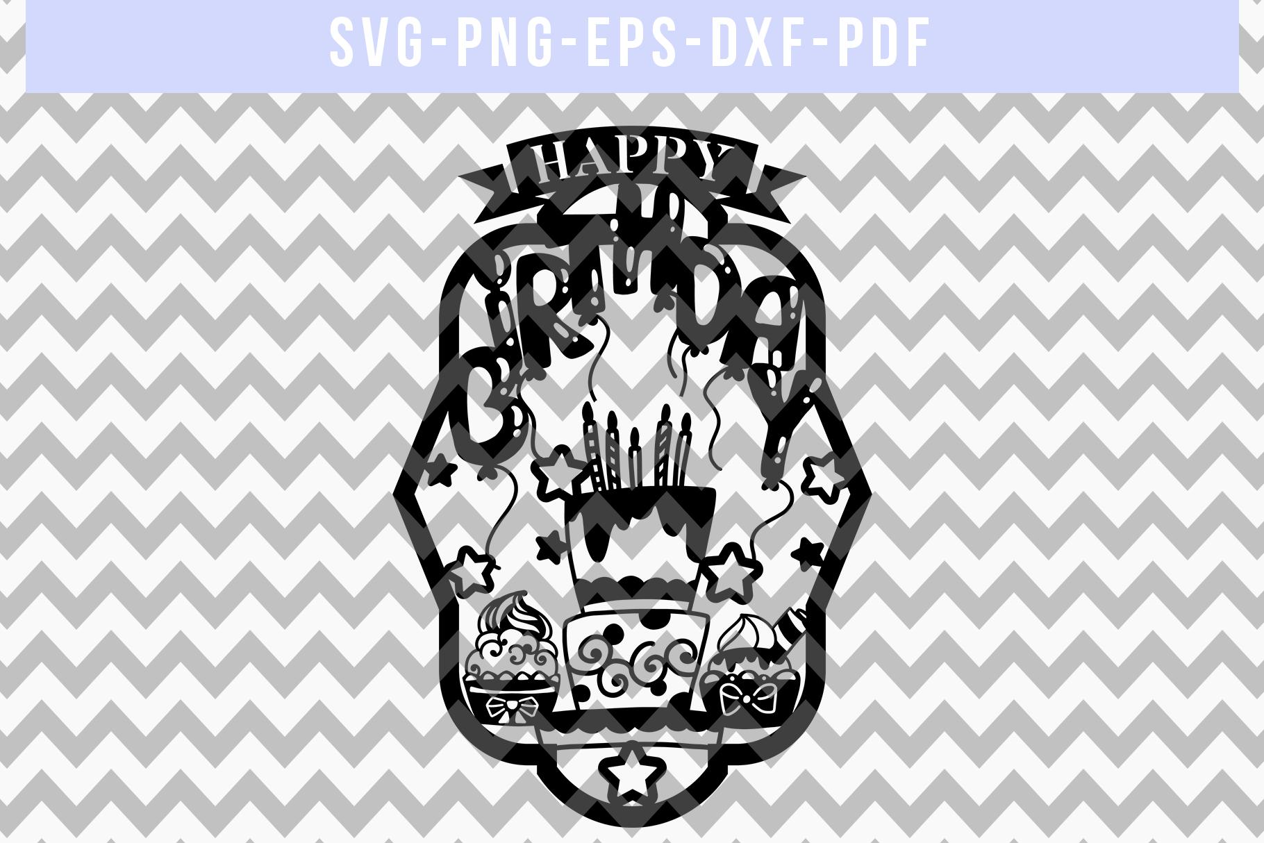 Happy Birthday Papercut Template, Diy Birthday Card SVG, PDF example image 4