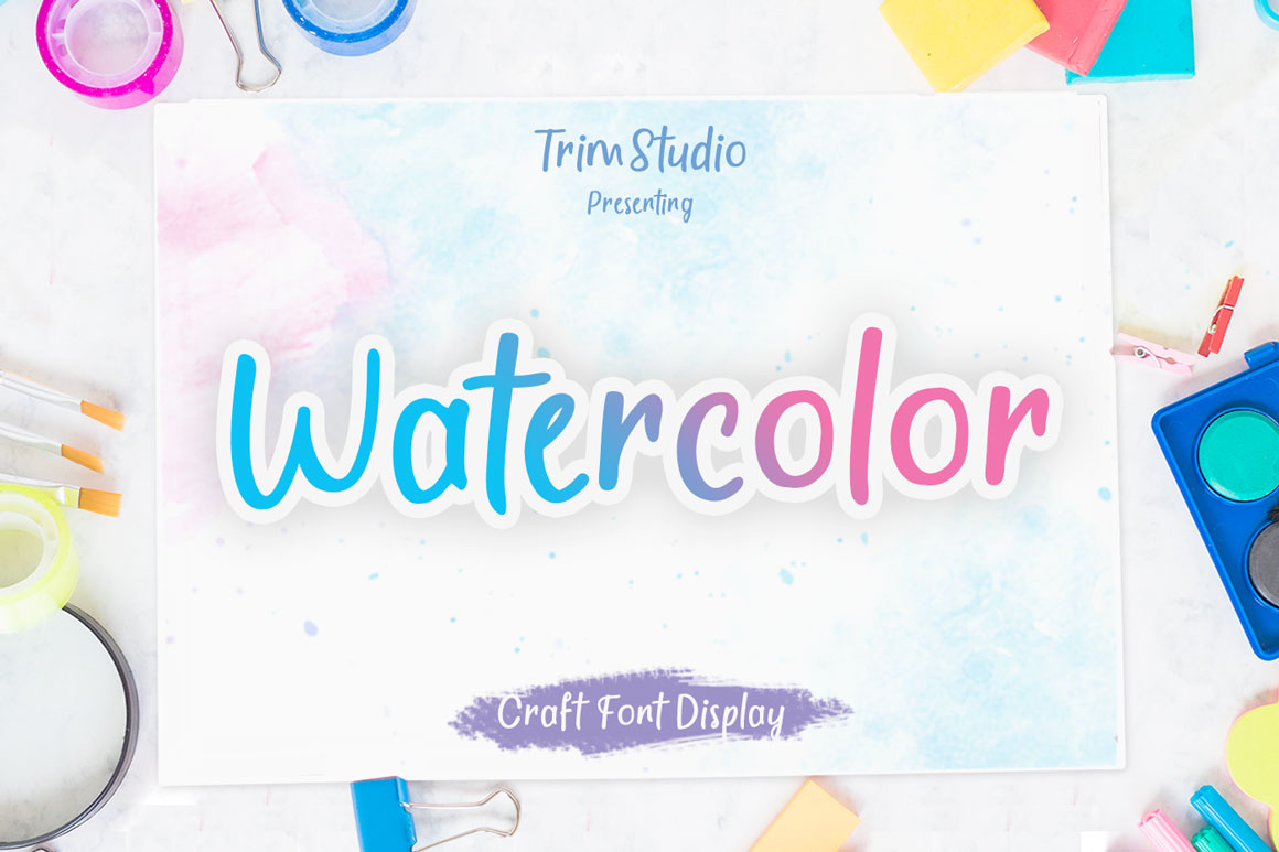 Watercolor - Quirky Handwritten Font example image 1
