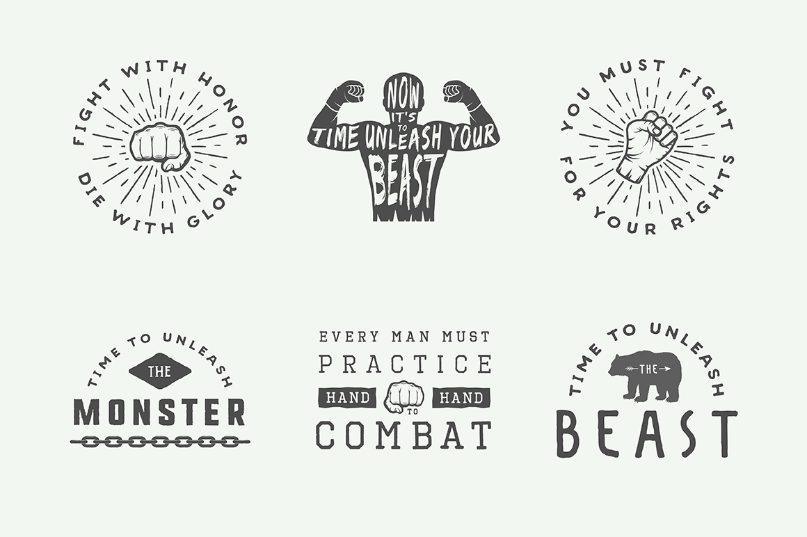 Vintage Fighting Emblems Bundle example image 4