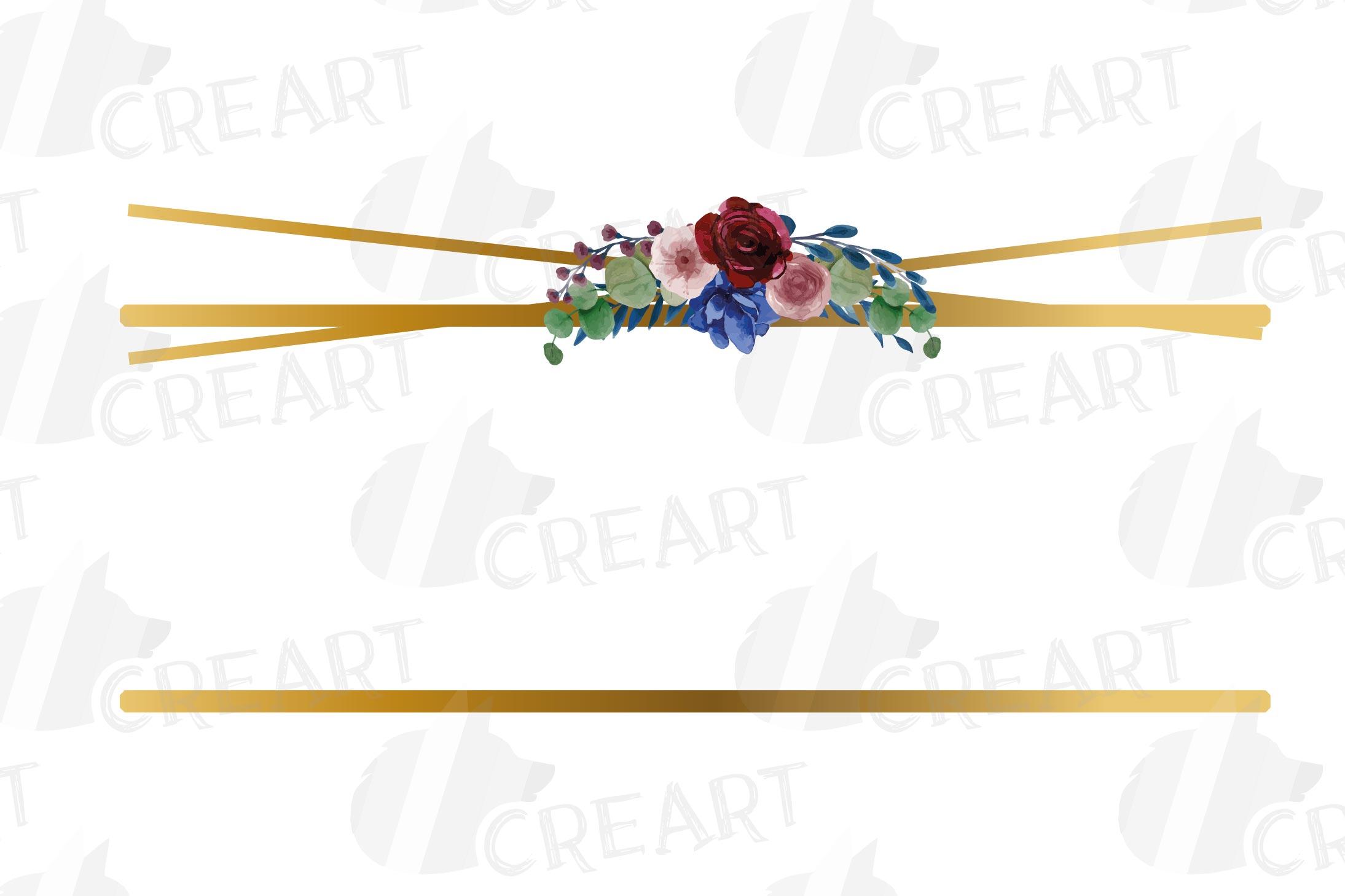 Watercolor elegant floral borders clip art. Wedding frames example image 22