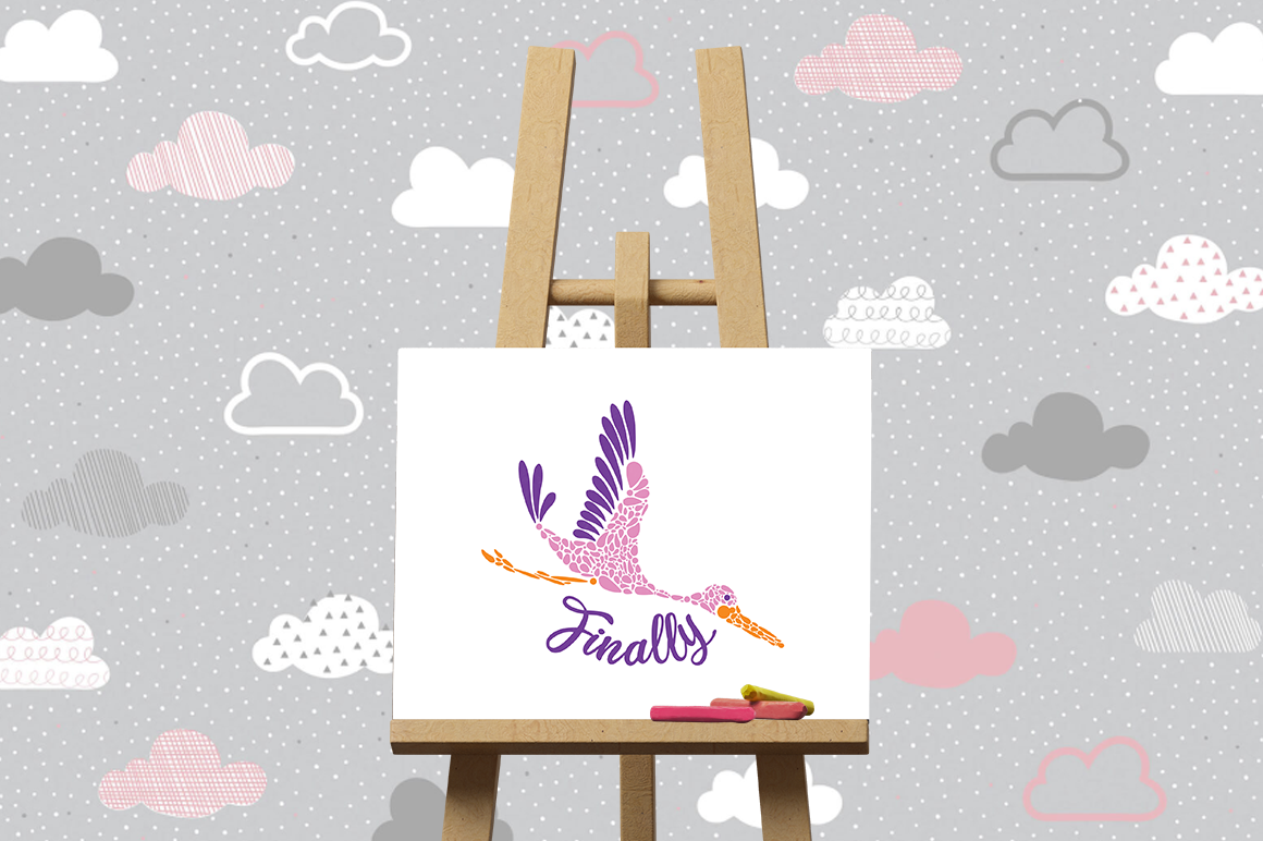 Pregnancy Announcement SVG Cut Files - Finally - Stork example image 3