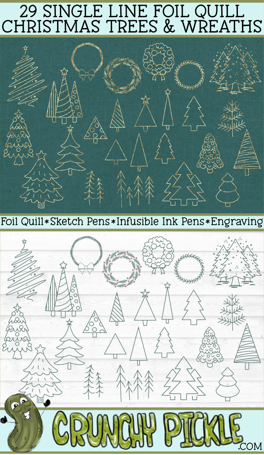 29 Foil Quill Christmas Trees & Wreaths Set / Single Line example image 3
