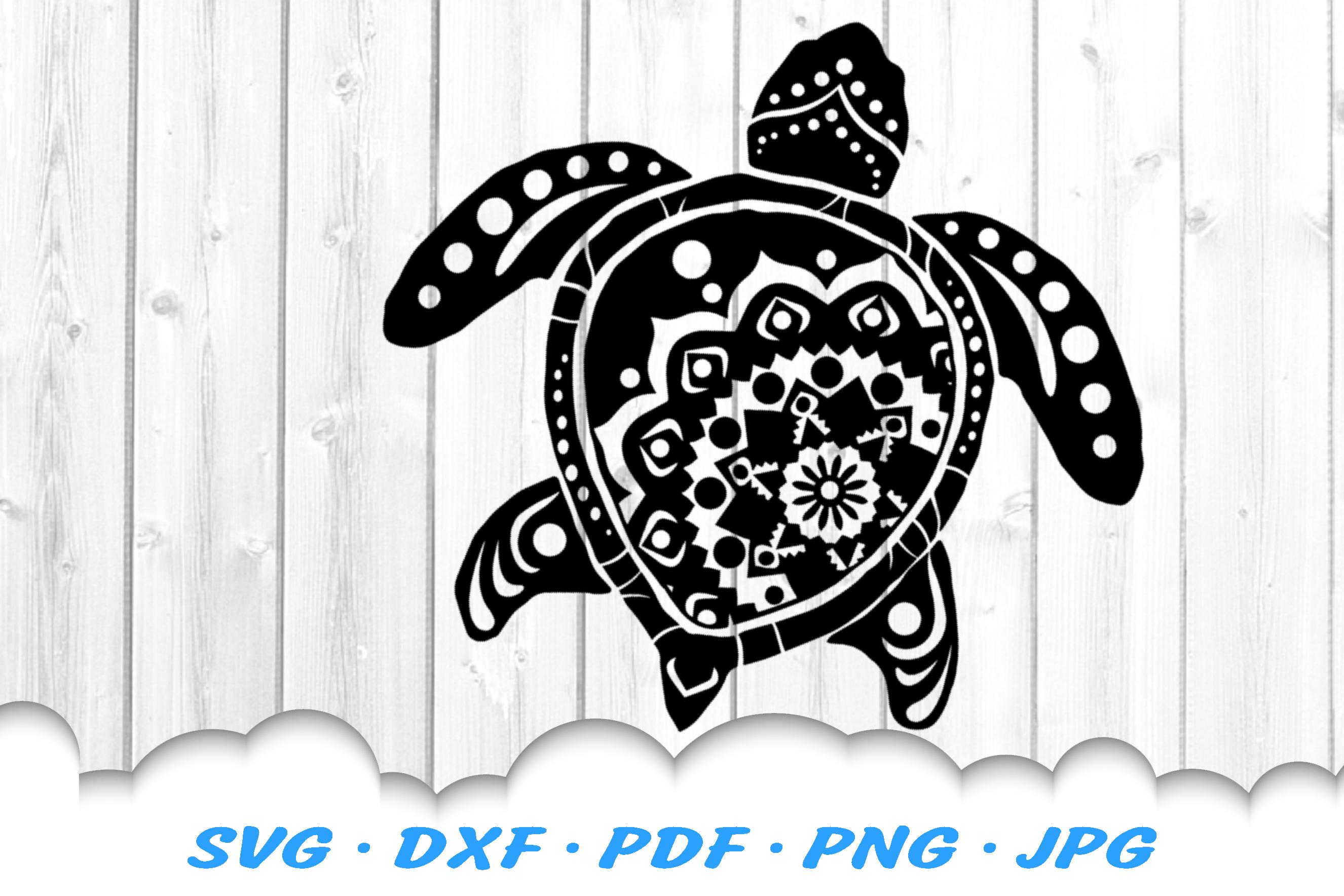 Mandala Sea Turtle SVG DXF Cut Files example image 3