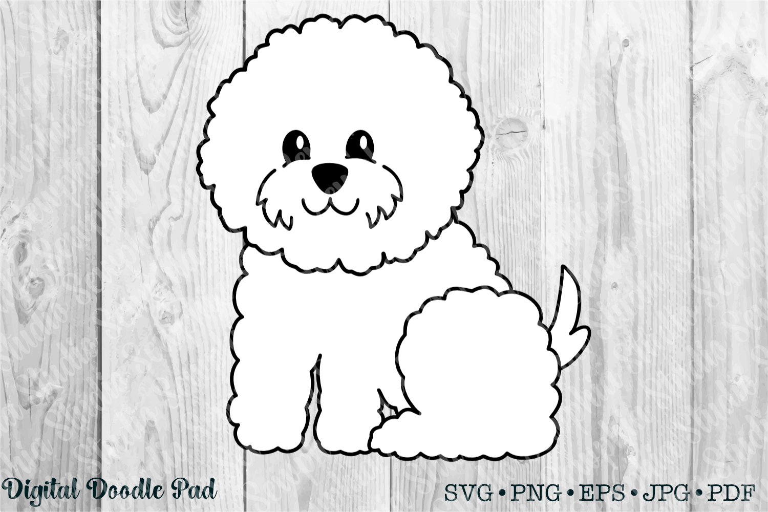 Cute Bichon 02 by Digital Doodle Pad example image 1