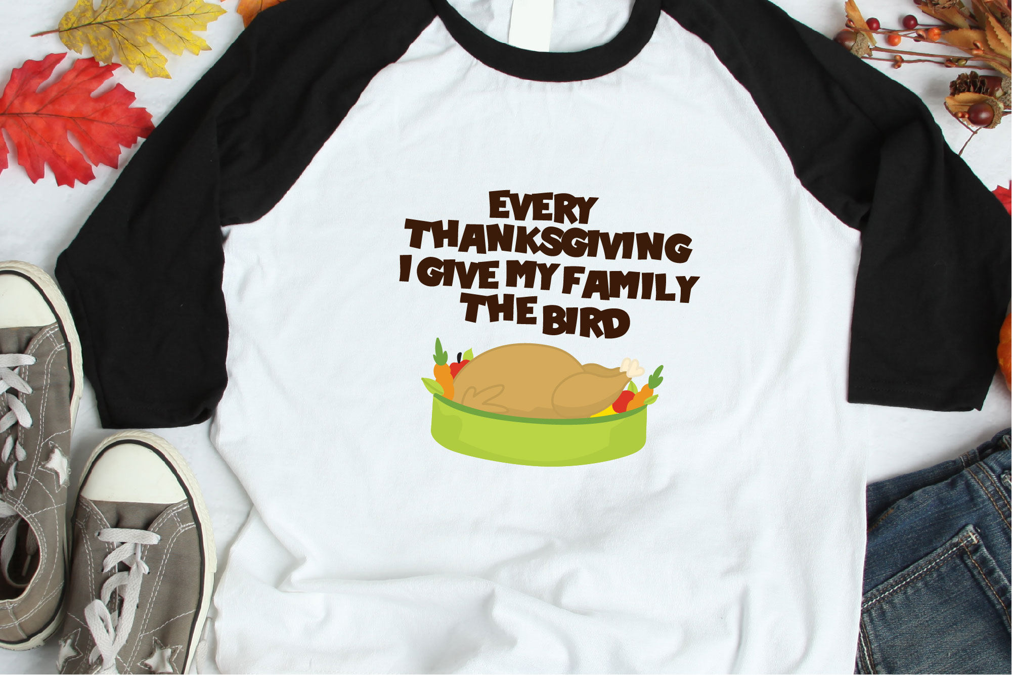 Thanksgiving SVG, Every Year I Give My Family The Bird SVG example image 1