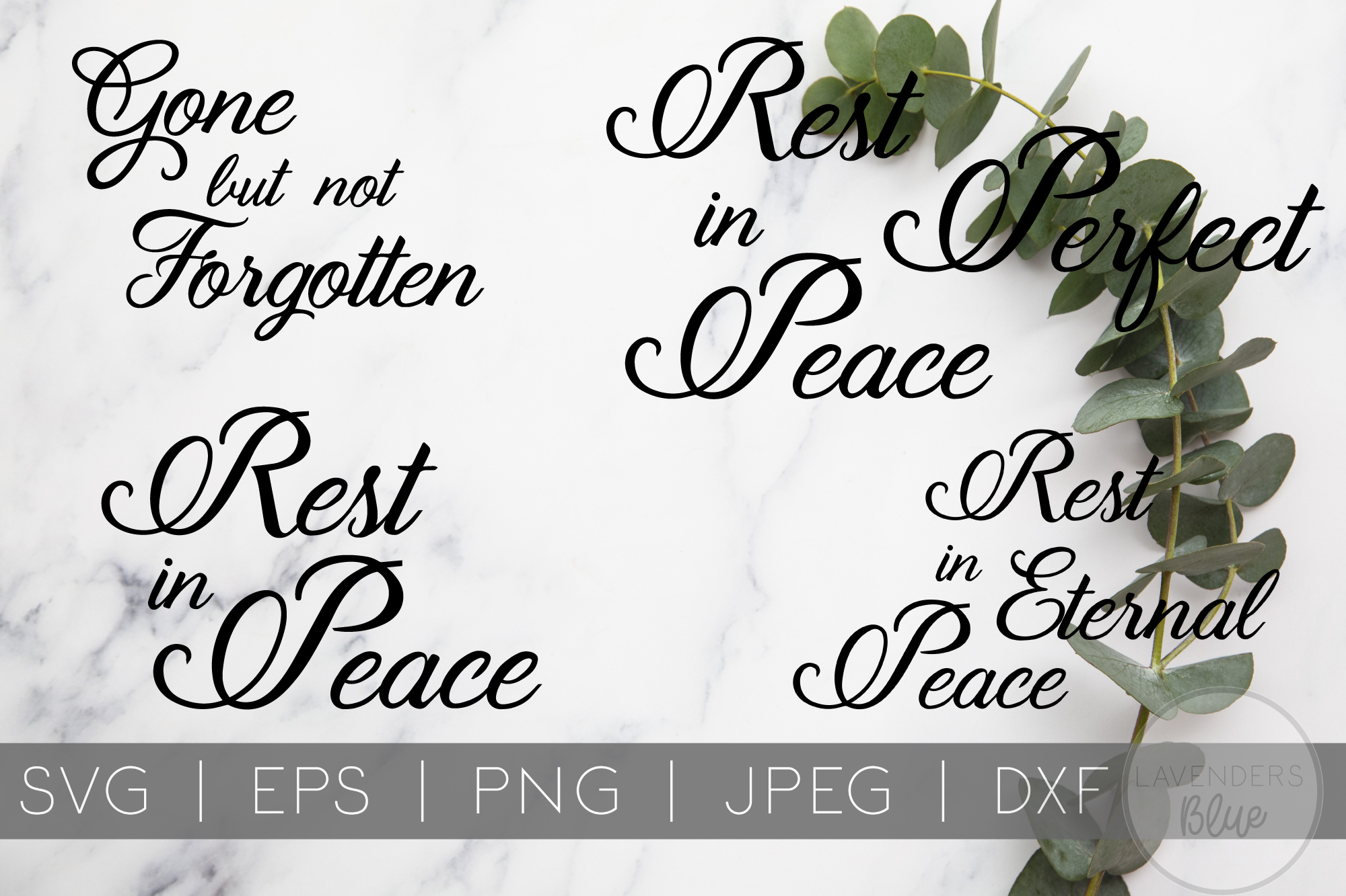 Rest in Peace SVG Bundle | EPS | PNG | DXF example image 2