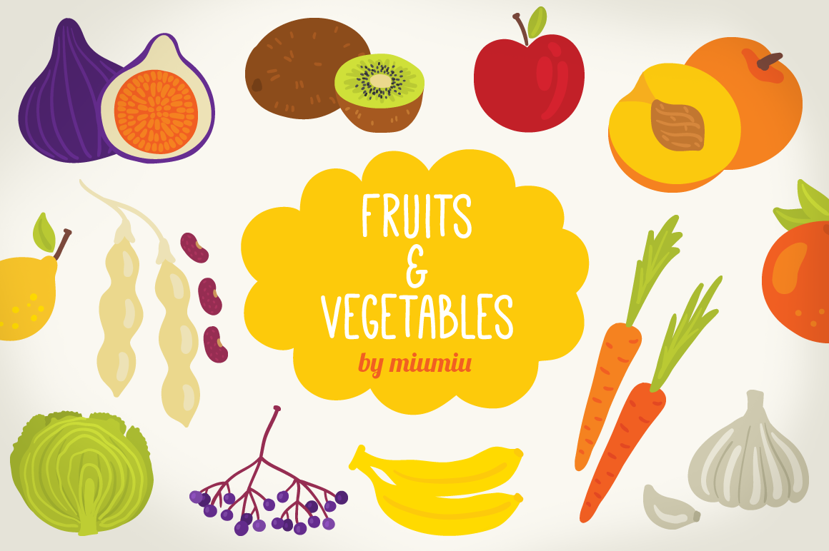 Alphabet with Fruits and Vegetables example image 1