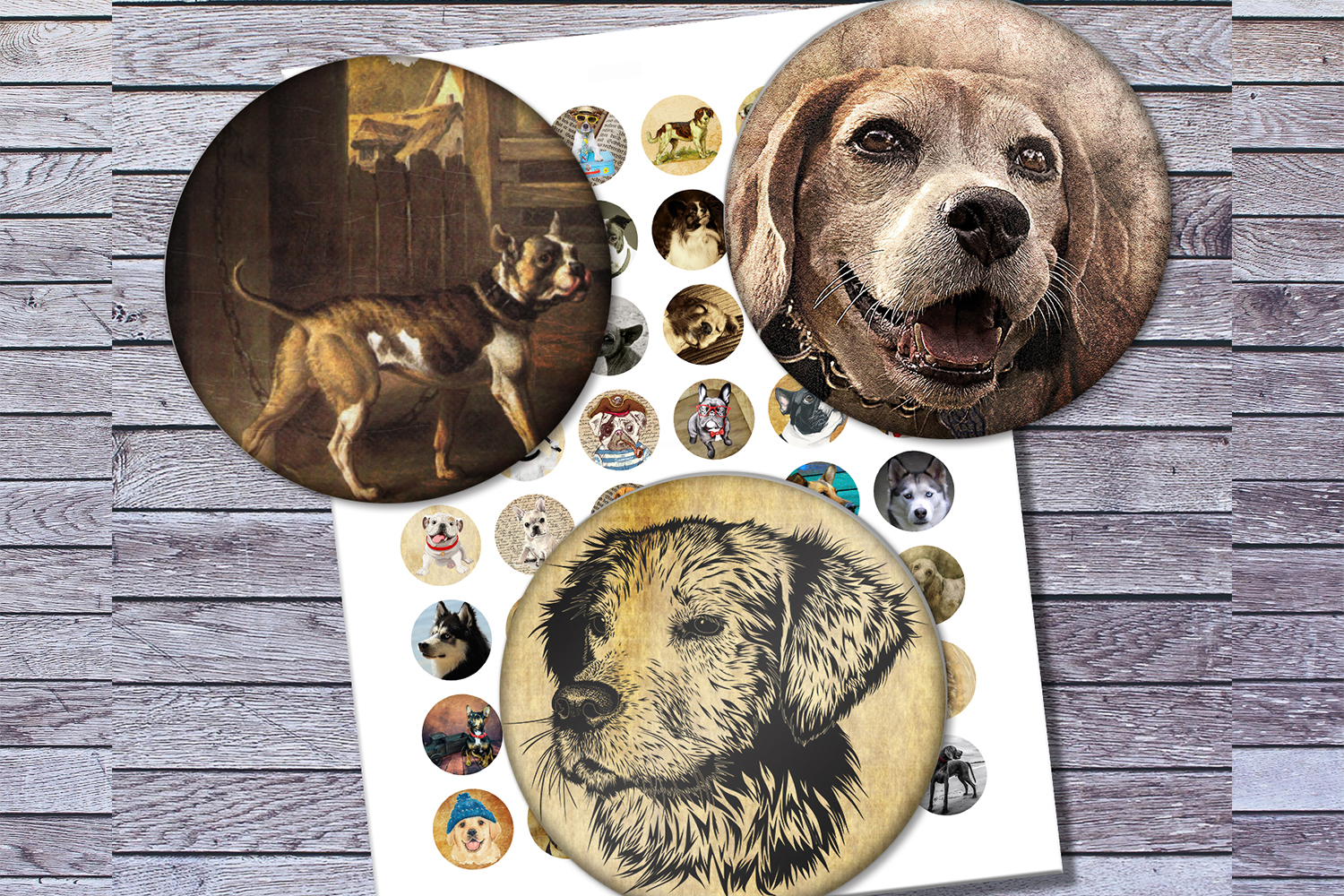 Vintage Dogs, Dogs Images, Digital Collage Sheet, Printables example image 3