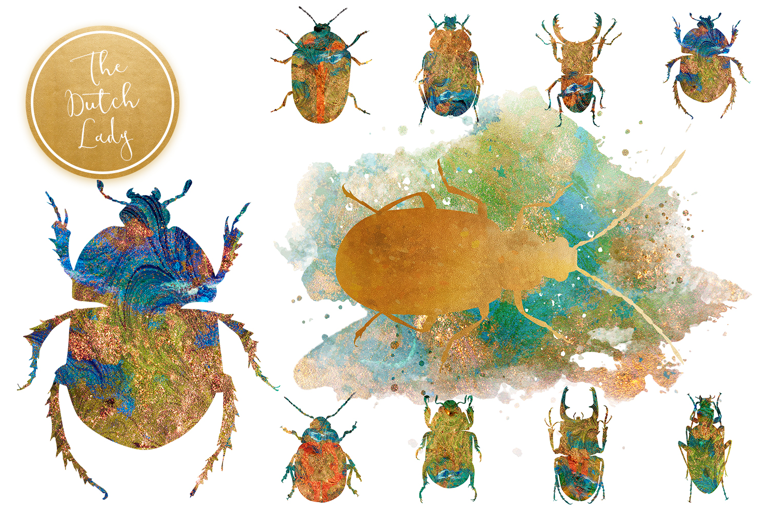 Scarabs & Beetles Clipart Set example image 4