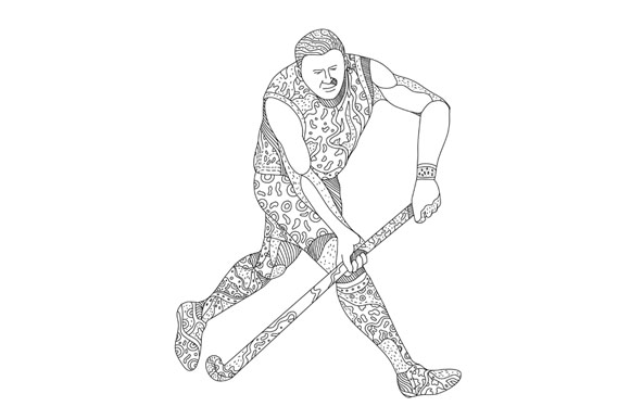 Field Hockey Player Doodle example image 1