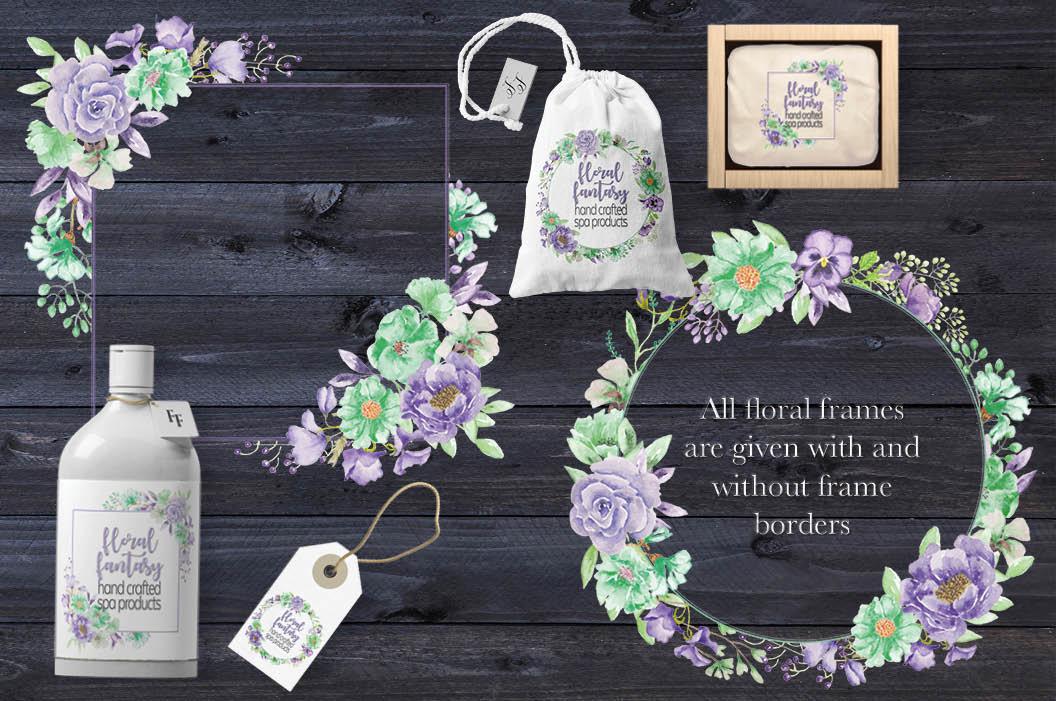 'Violet and Mint': watercolor clip art bundle example image 6