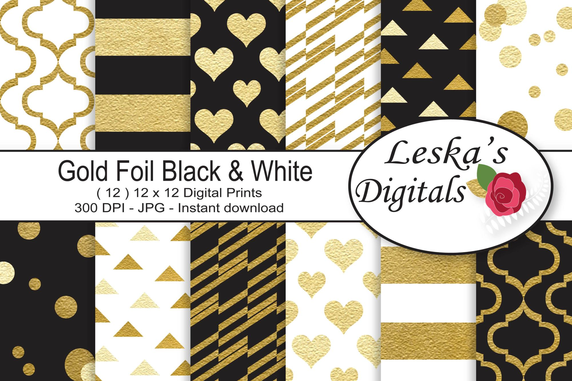 Black and Gold Digital Paper Patterns example image 1