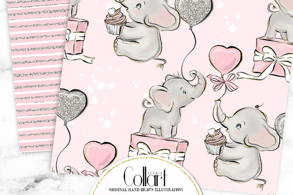 Elephant digital paper, baby girl papers, seamless patterns example image 6