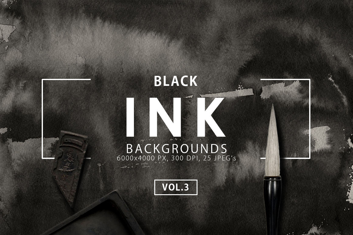 Black Ink Backgrounds Vol.3 example image 1