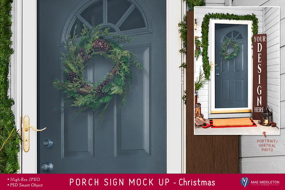 Porch Sign Christmas mock up example image 1
