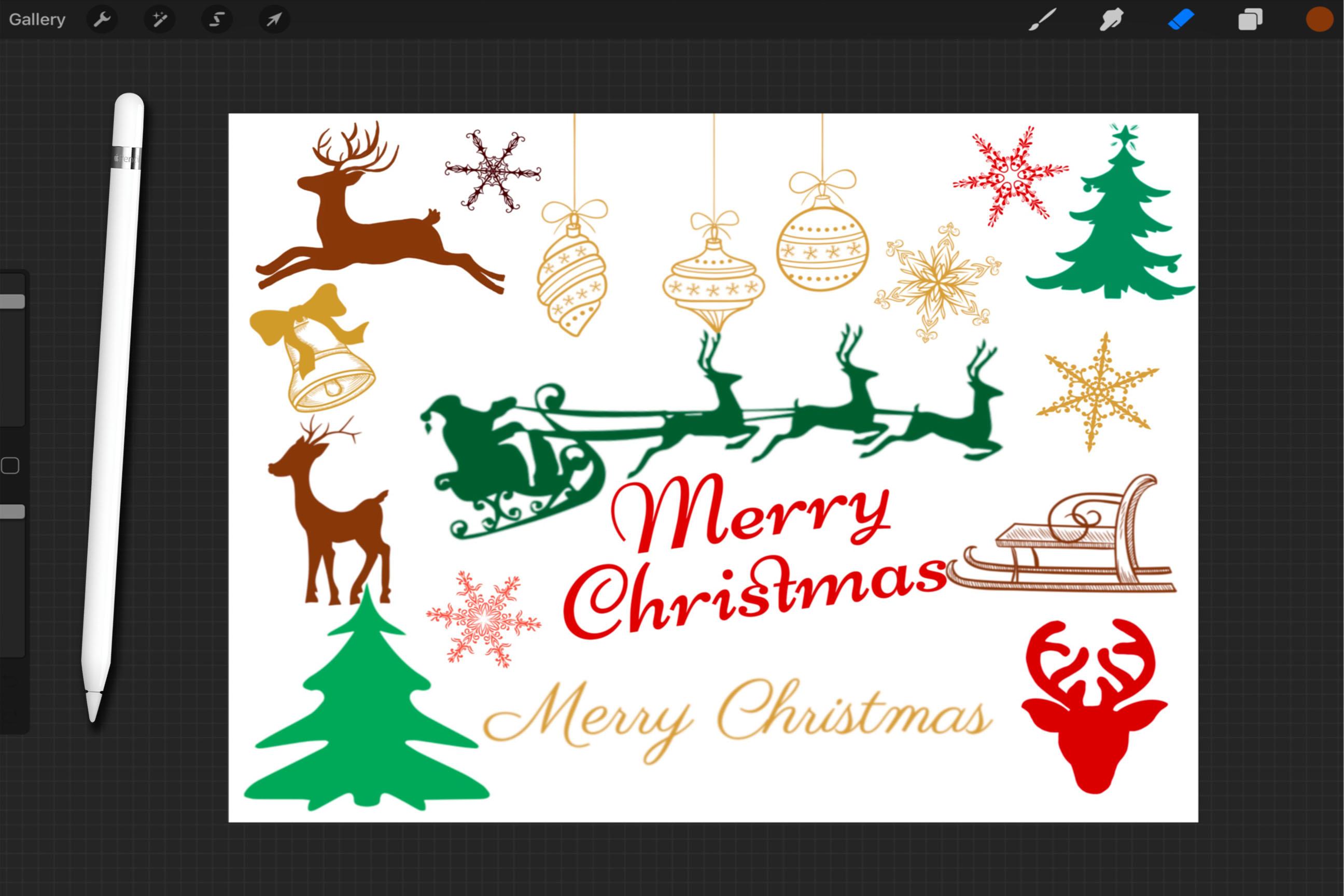 Procreate brush set,Christmas brushes, Xmas brushes ...