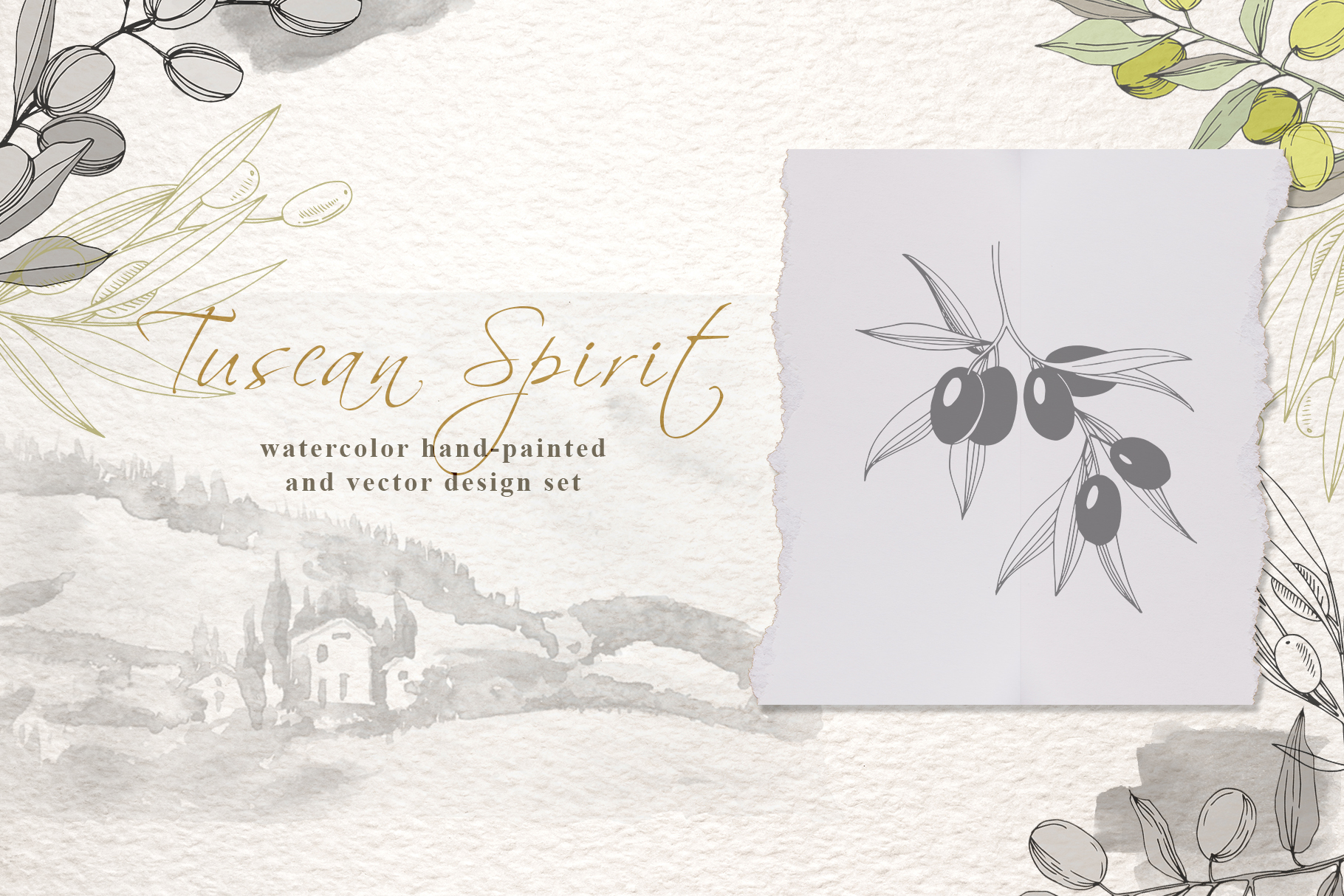 Tuscan Spirit watercolor and vector set example image 2