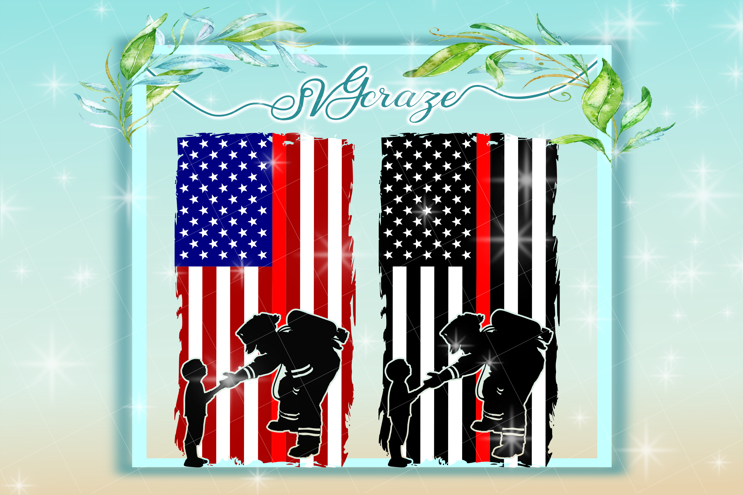 Firefighter With Child Usa Flag Svg Fire Fighter Svg
