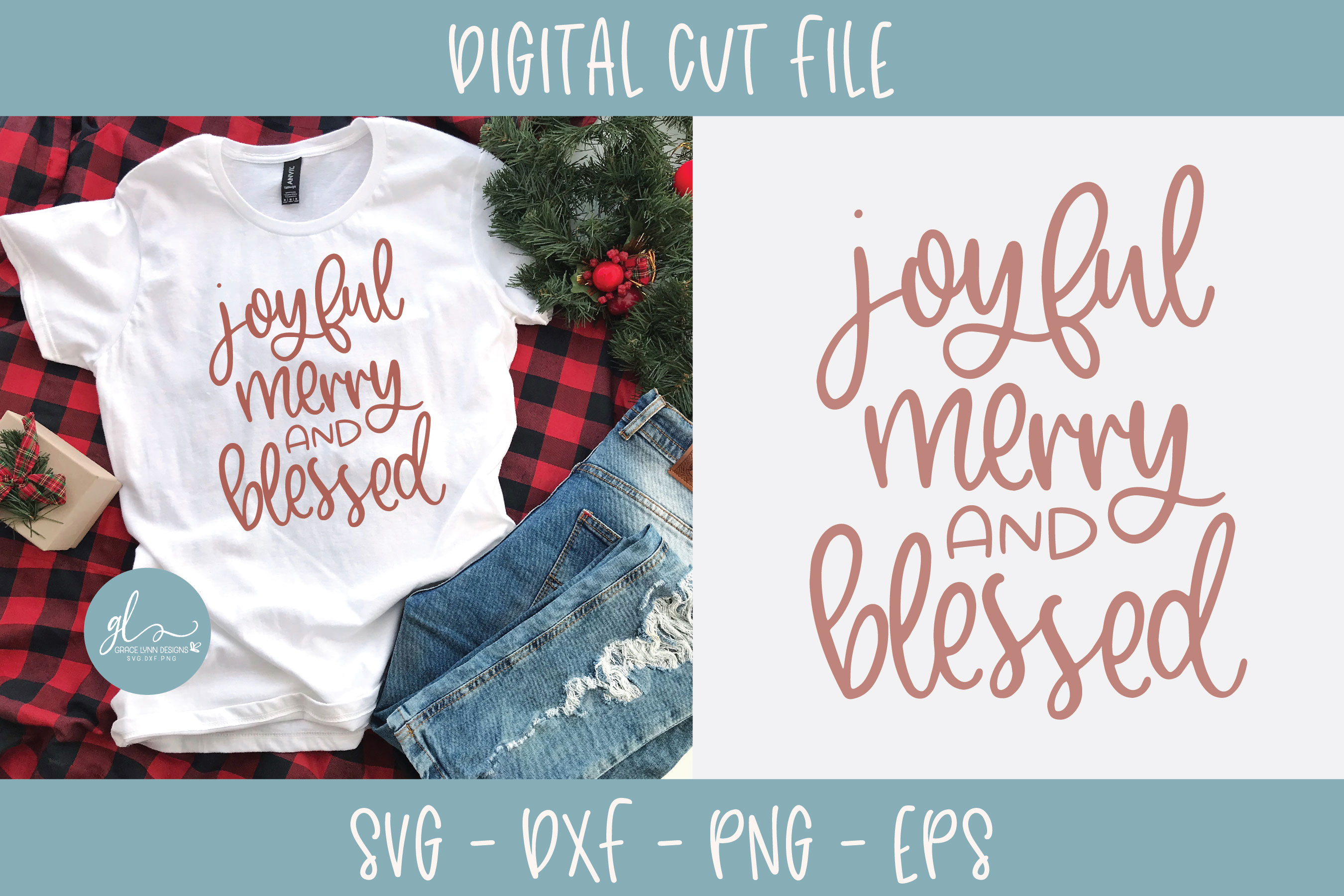 Joyful Merry And Blessed - Christmas SVG example image 2