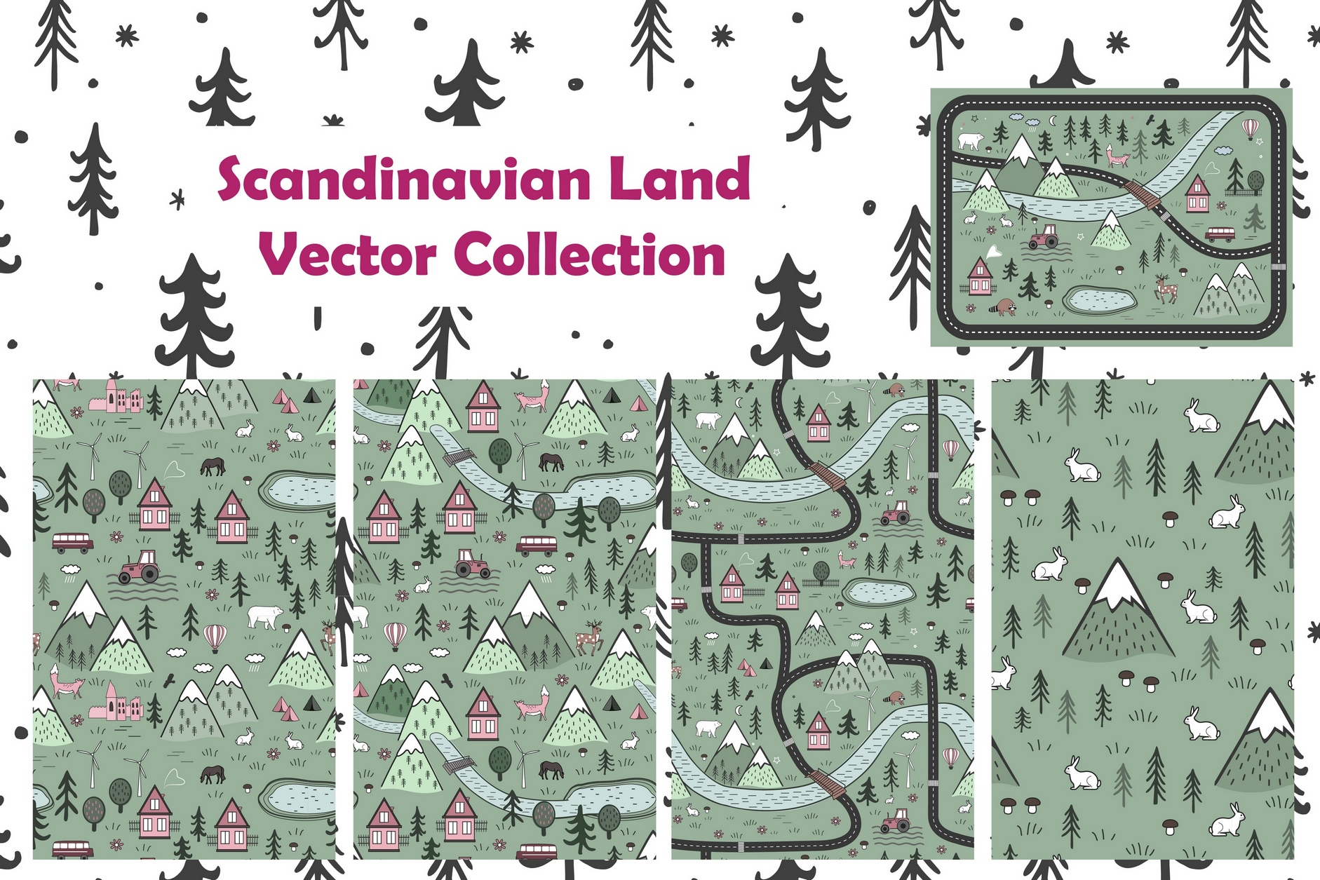 Scandinavian Land. Vector Collection example image 1