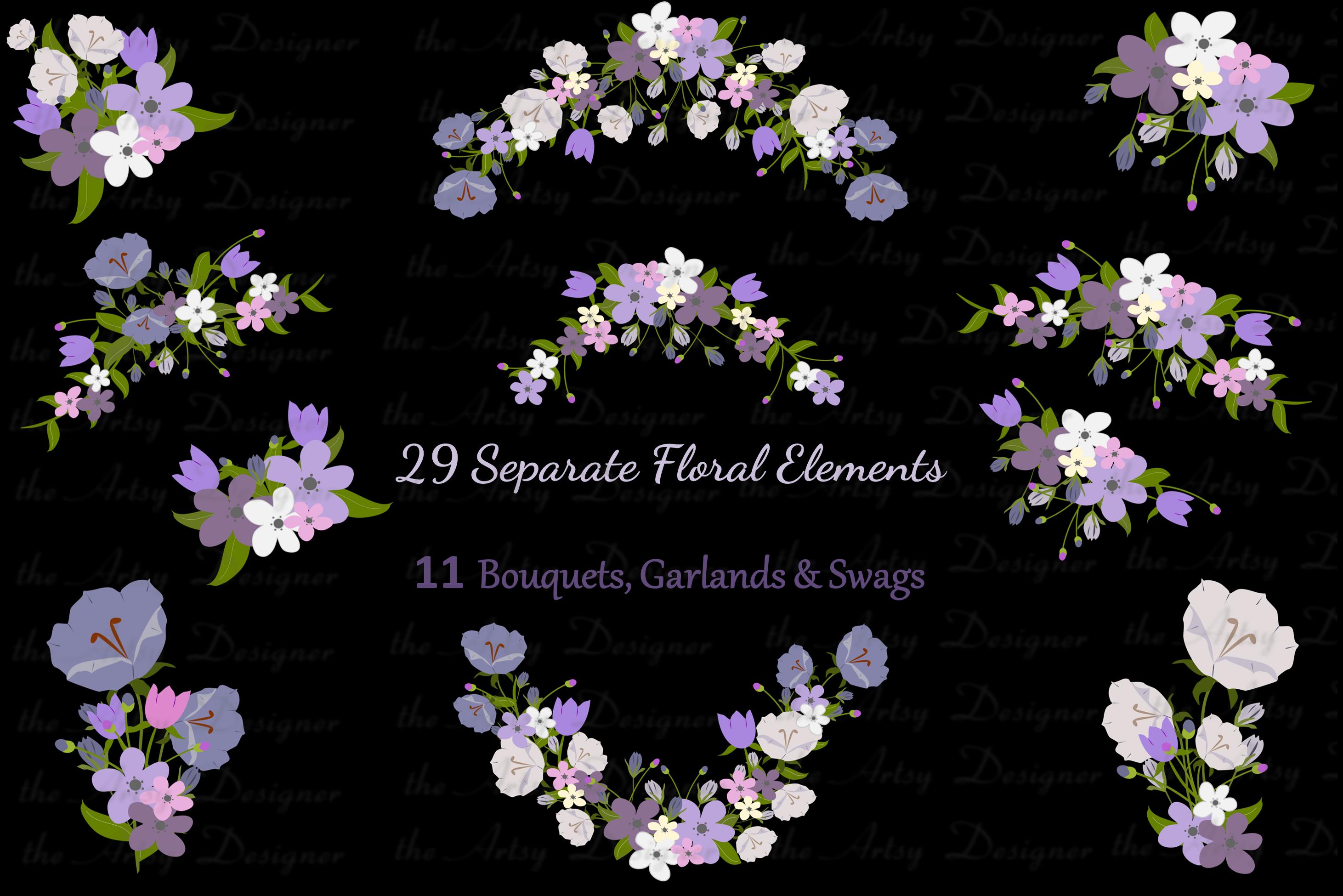 Purple Flowers Sublimation Clipart Bundle Wedding Floral example image 2