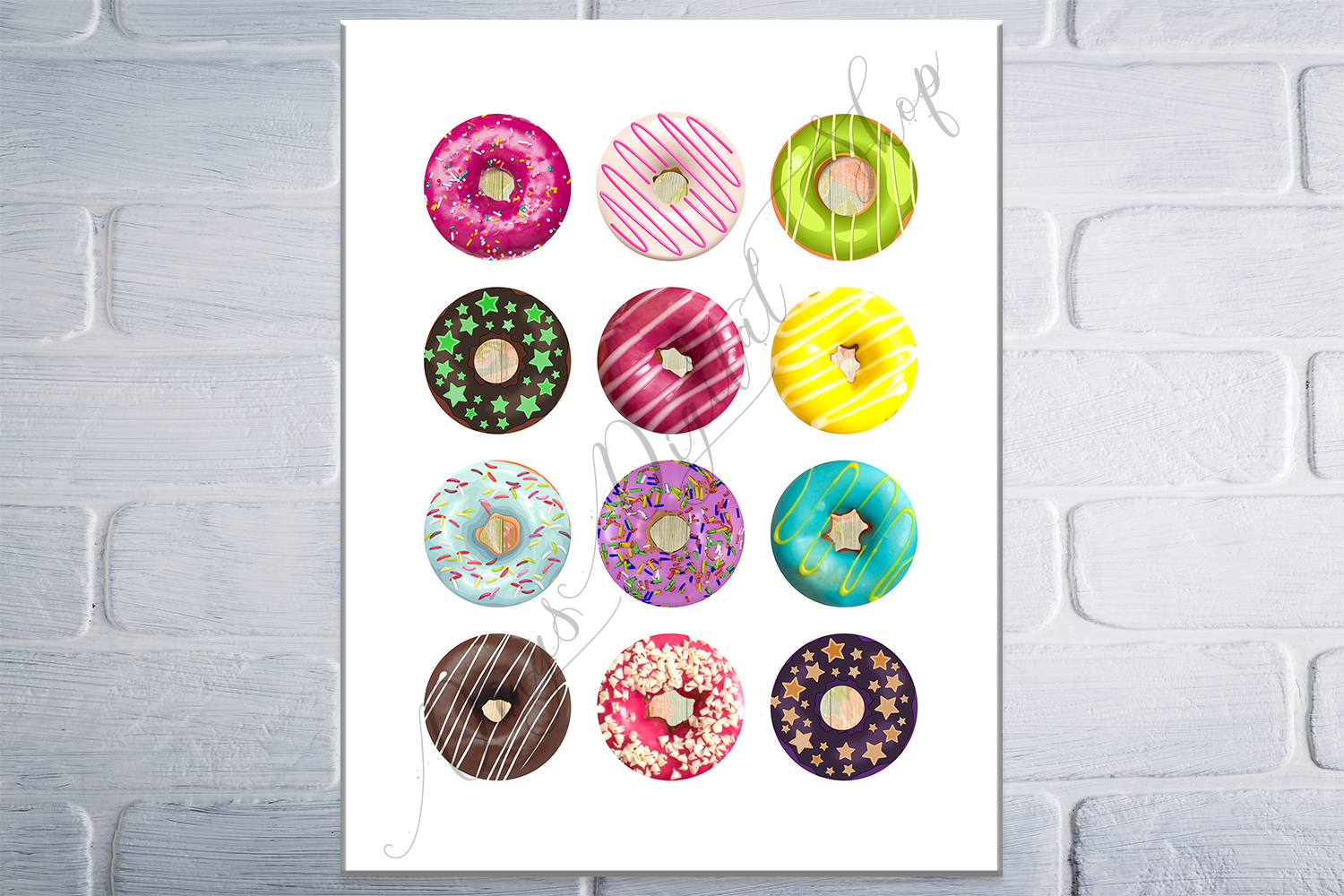 Donuts Printable Round images, Digital Collage Sheet, 50 OFF example image 4