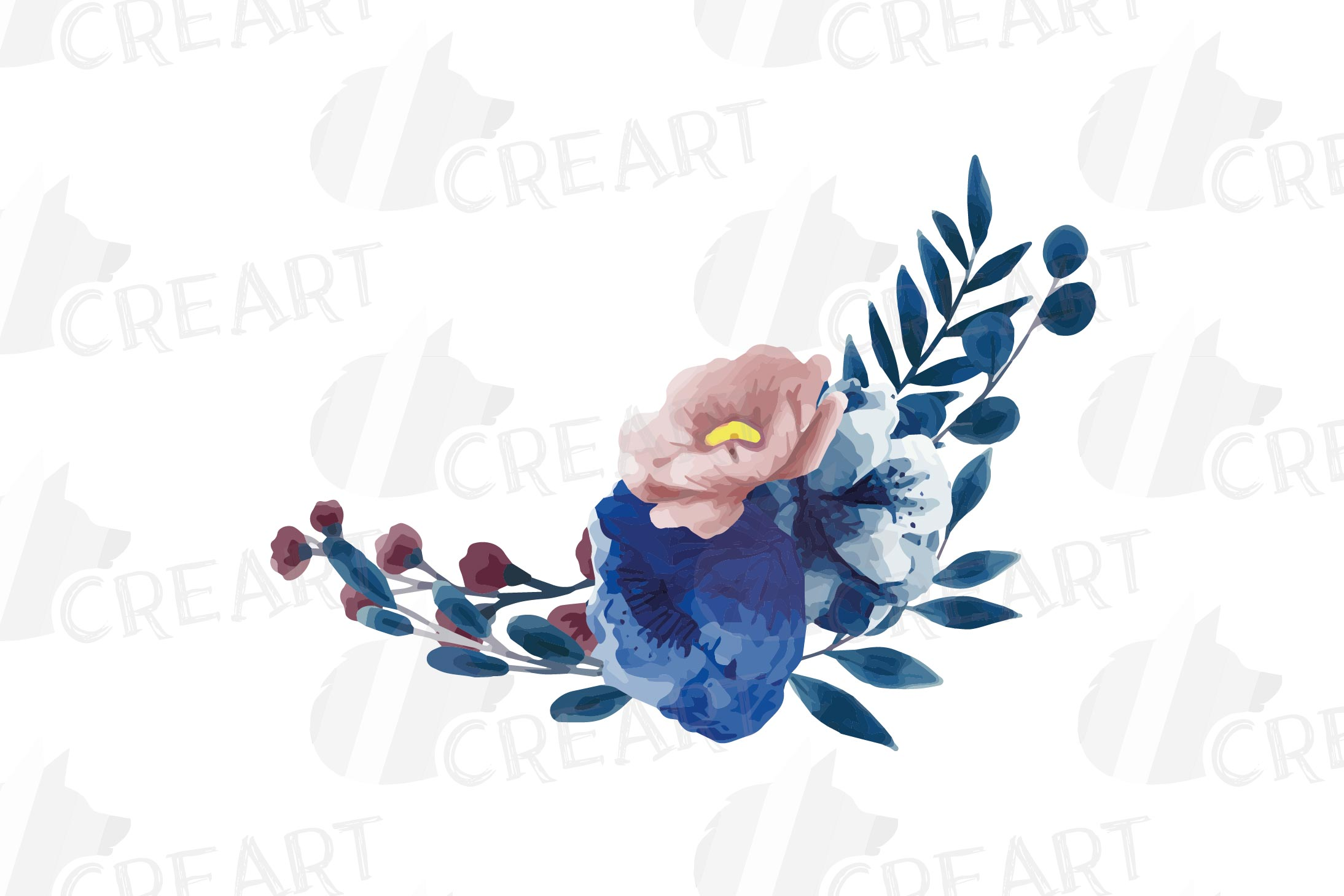 Floral navy watercolor, dark indigo and blush pink flowers example image 6