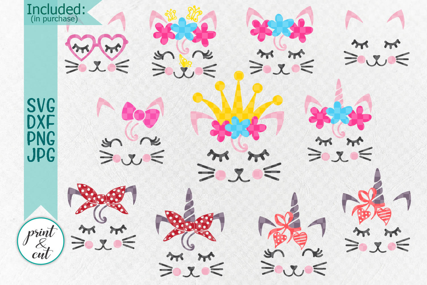 Cat Kitty face bundle with flowers hearts unicorn crown svg example image 2