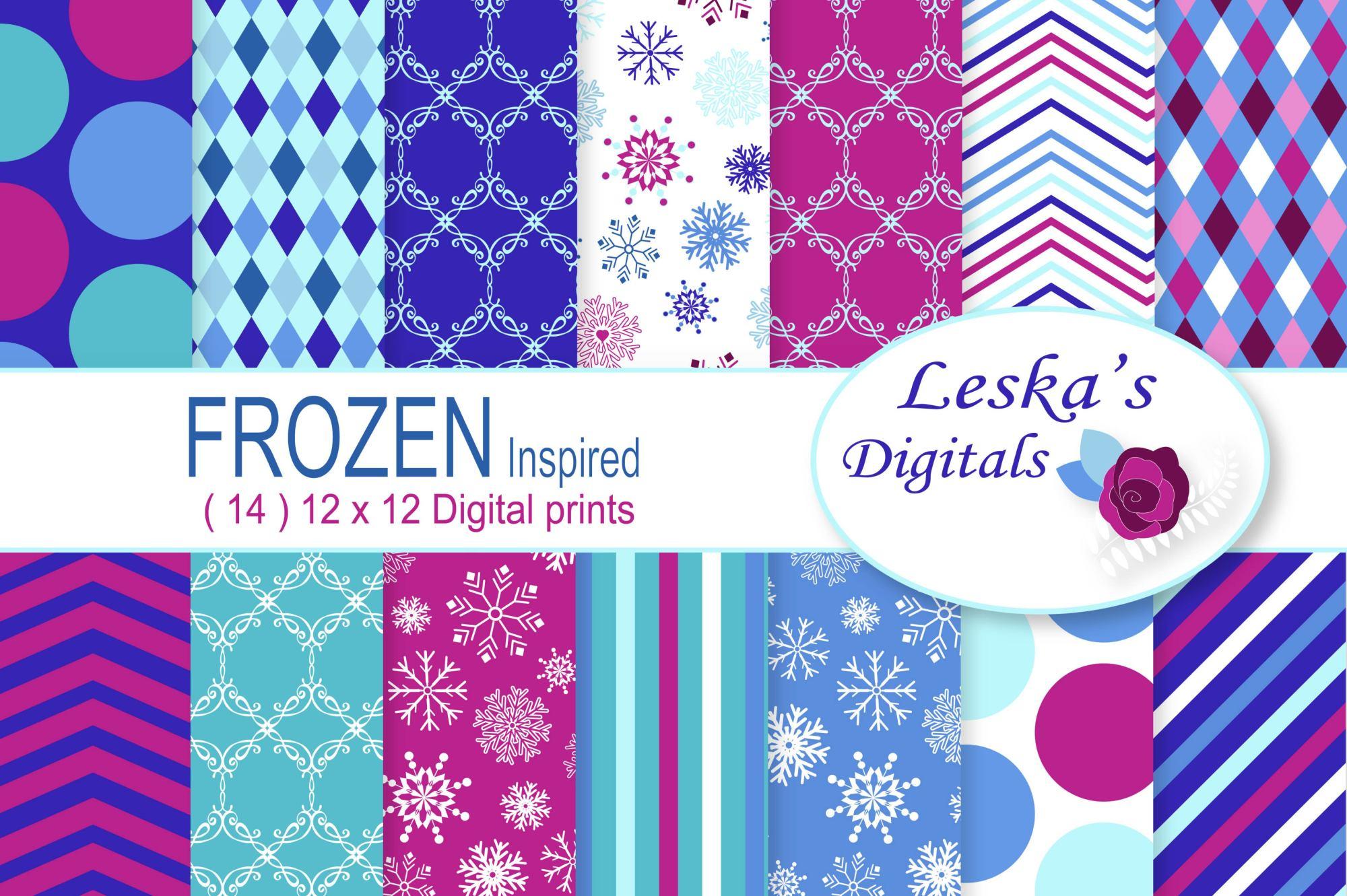 Frozen Digital Paper - Pattern Design example image 1