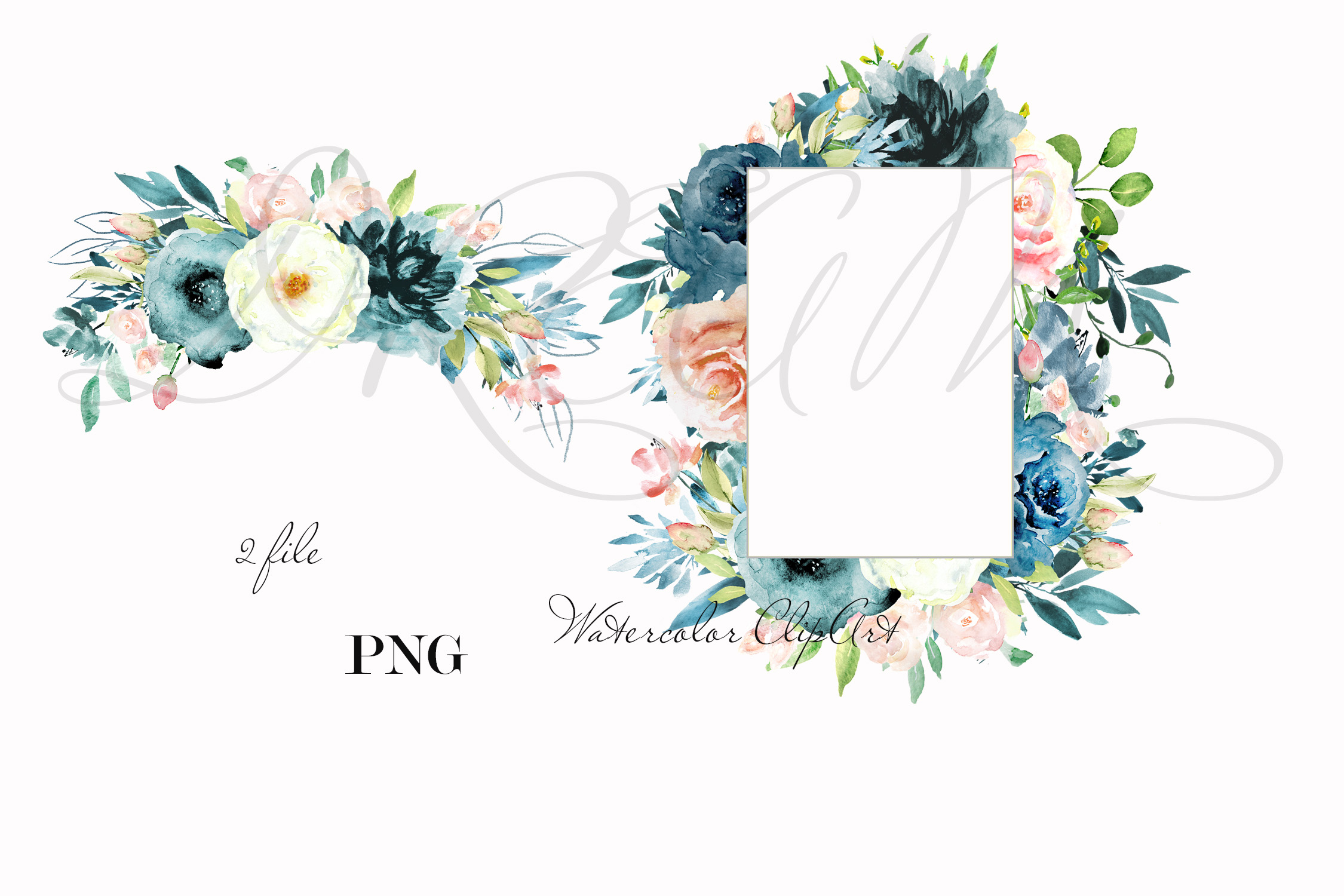 Navy blue & Pink floral watercolor clipart example image 2