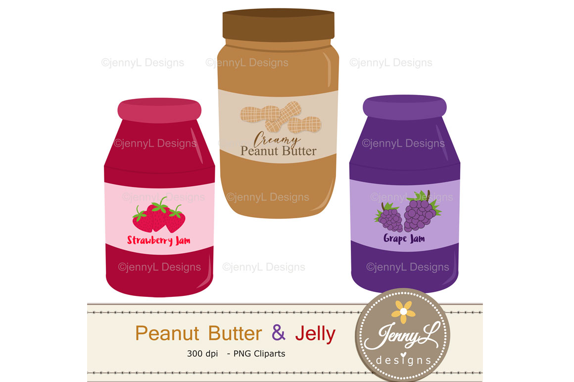 Peanut Butter and Jelly Digital Papers and Jam Clipart example image 8