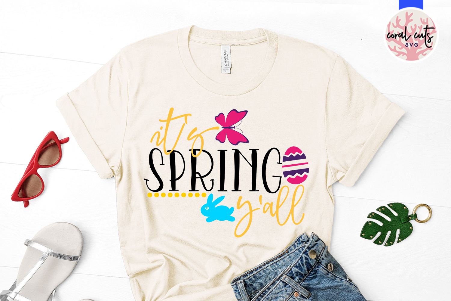 It's spring y'all - Easter SVG EPS DXF PNG Cutting File example image 2