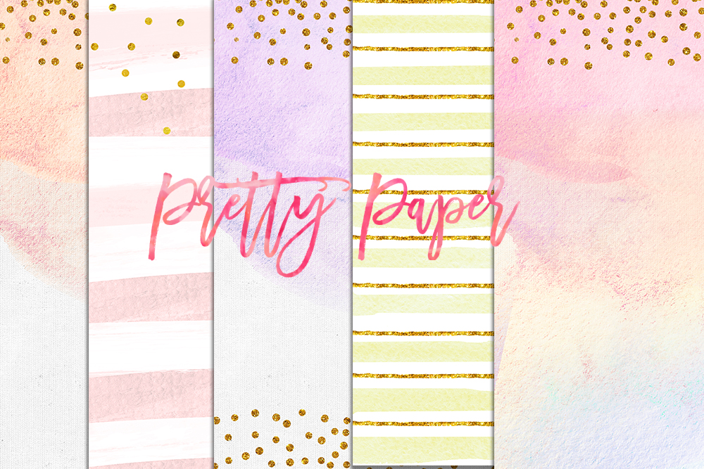digital download watercolor paper, confetti gold pastel paper, party rainbow watercolor pink digital paper pack, peach, pretty pastel example image 1
