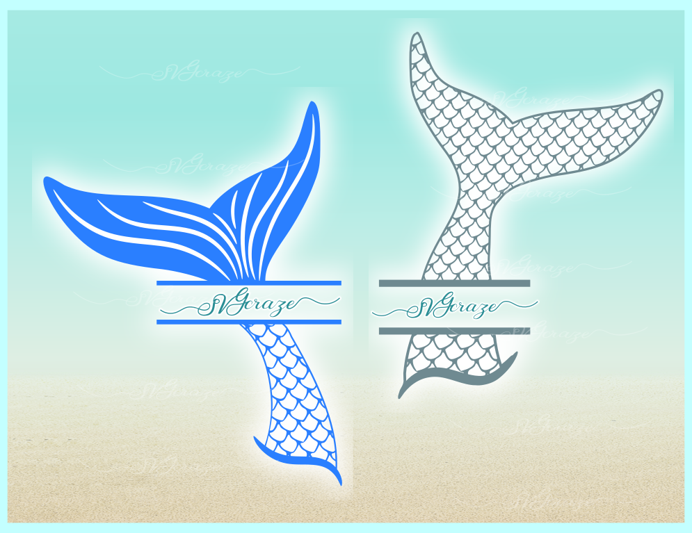 Mermaid Tail Monogram Svg Dxf Eps Png Pdf Files For Cricut example image 3