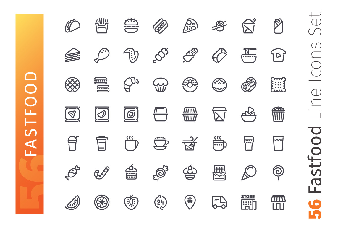Fastfood Line Icons Set example image 2