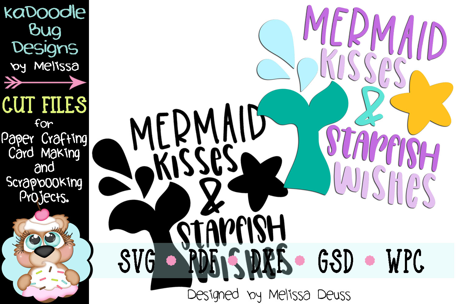Mermaid Kisses and Starfish Wishes Cut File - SVG PDF DXF example image 2