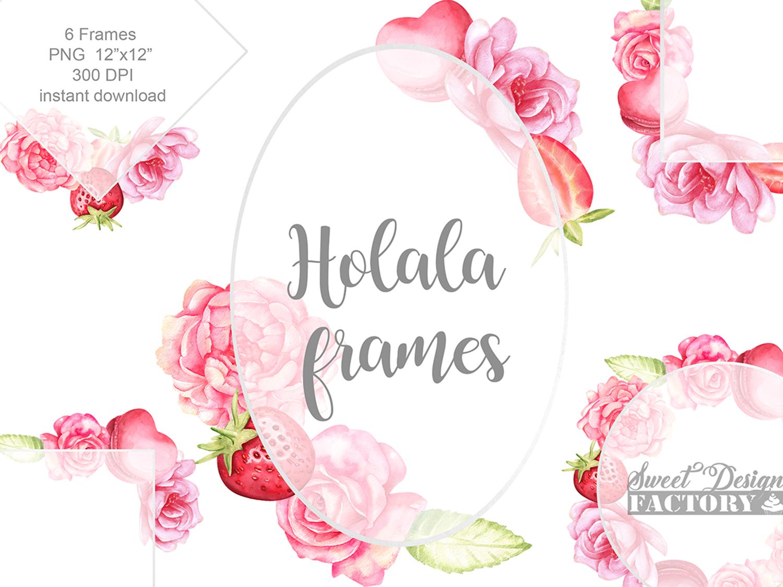 Watercolor flowers frame. Wedding frames