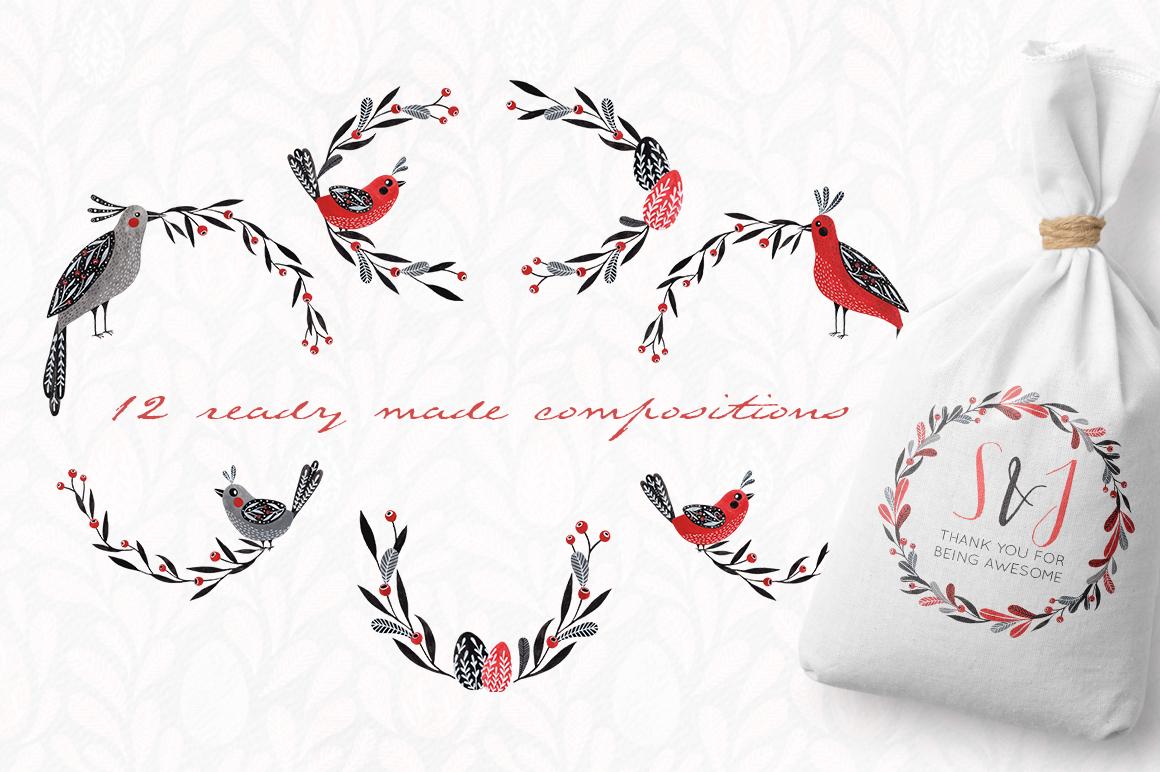 Lovebirds folk art bird illustrated collection example image 5